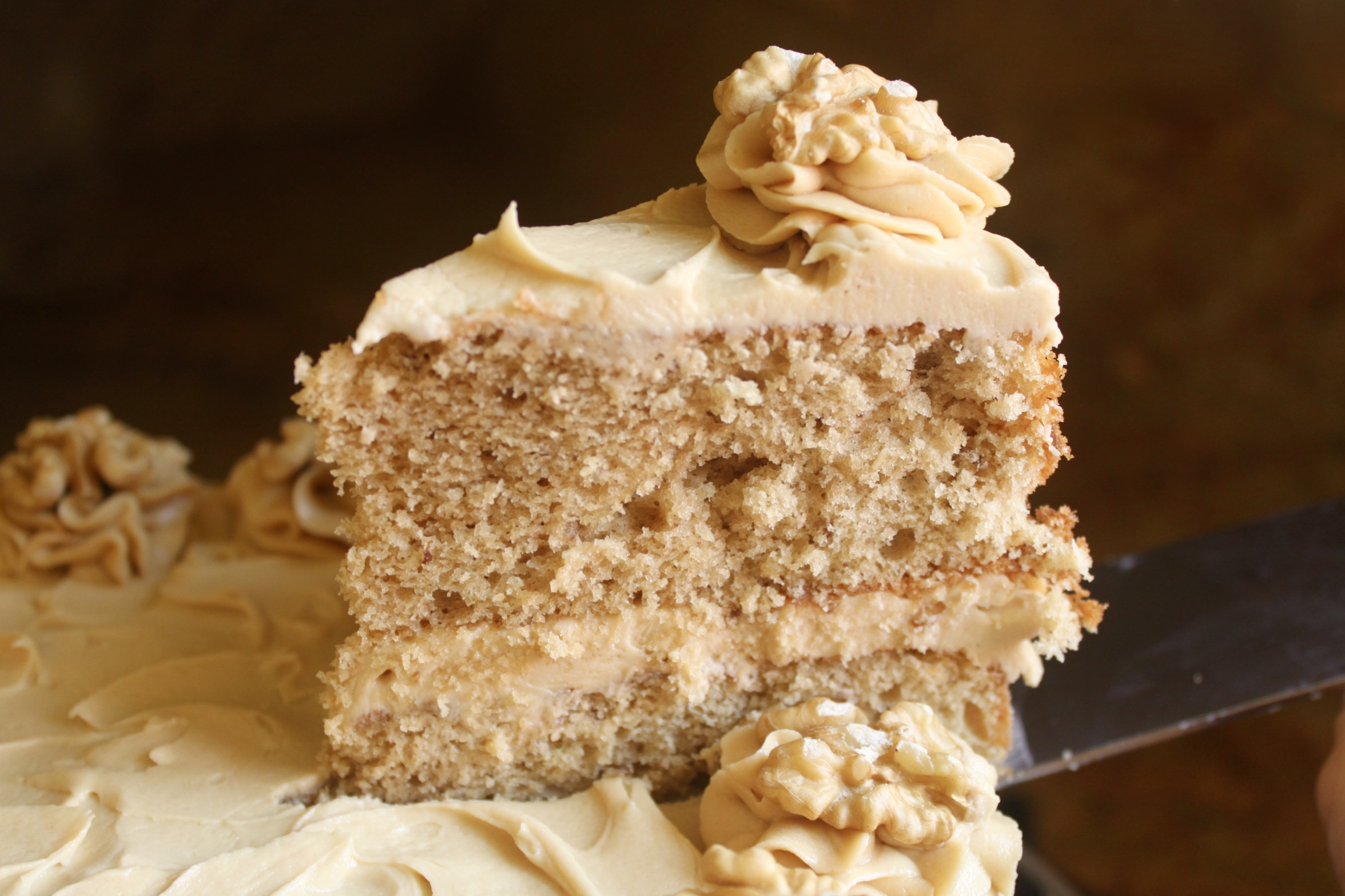 serving coffee and walnut cake
