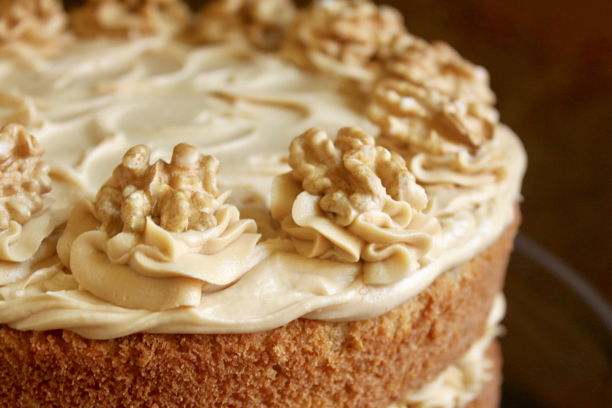 Coffee and Walnut Cake on stand