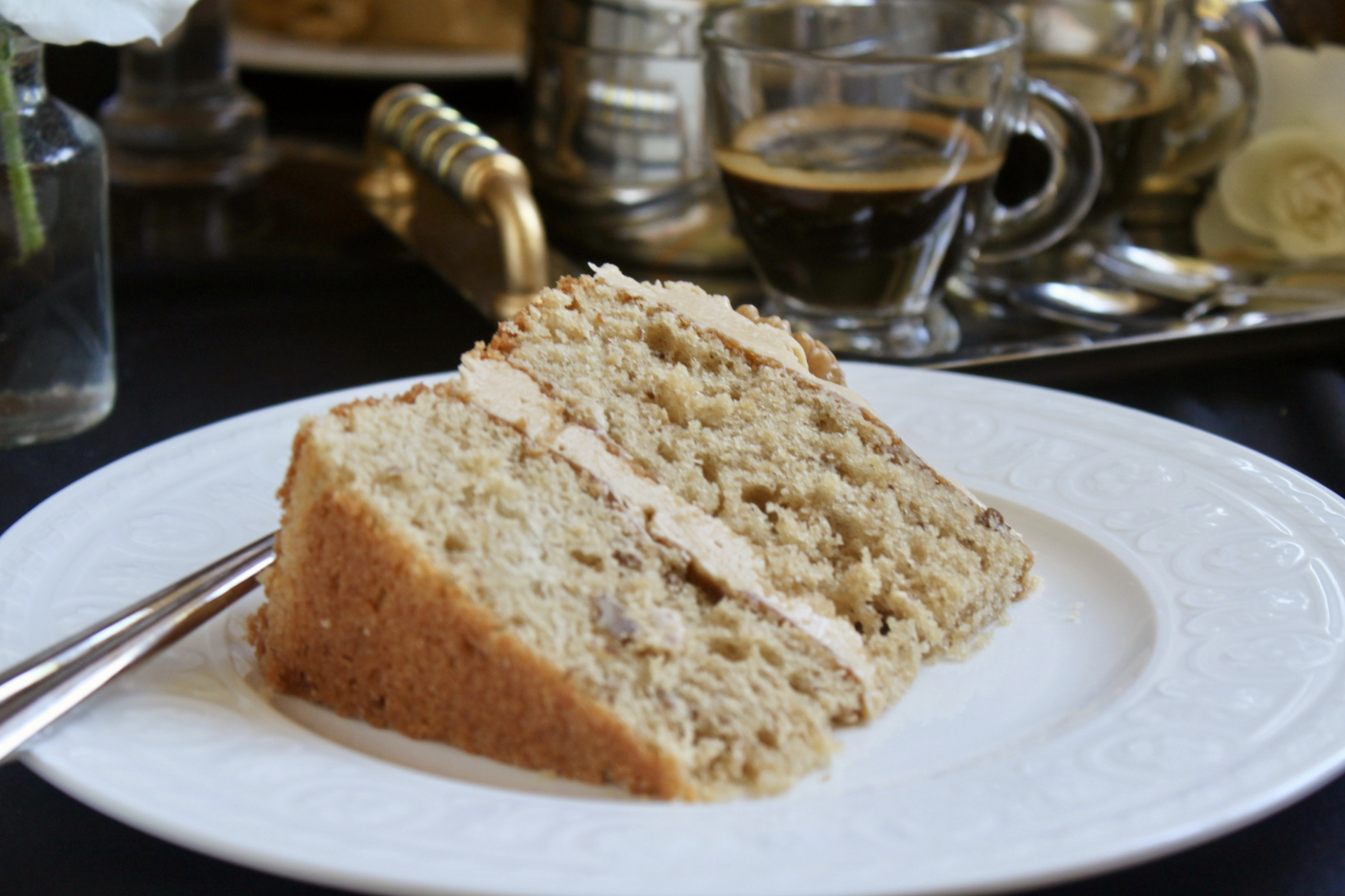 slice of coffee and walnut cake