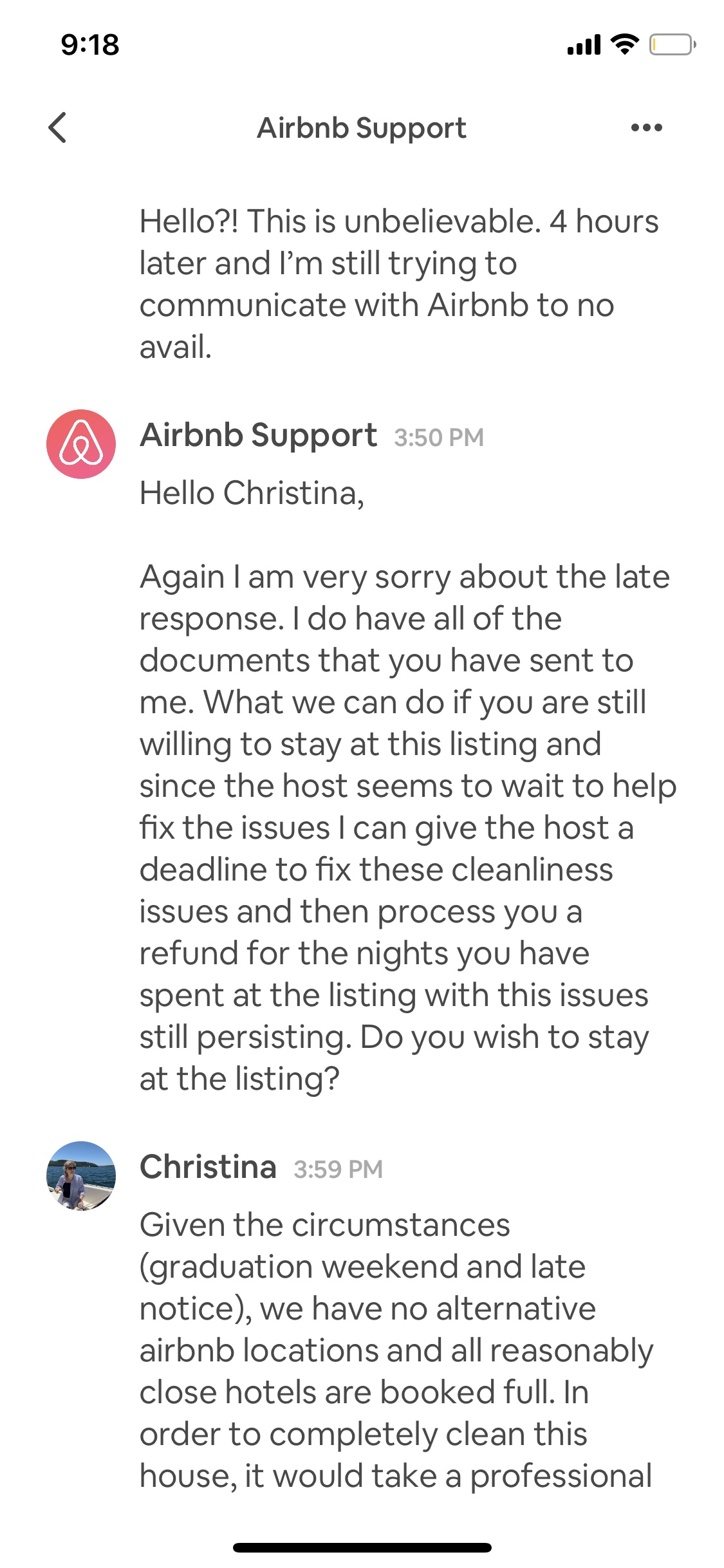 using airbnb message