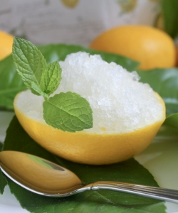Lemon granita in lemon shell