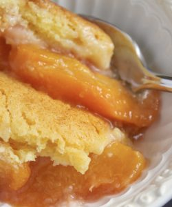 serving peach cobbler