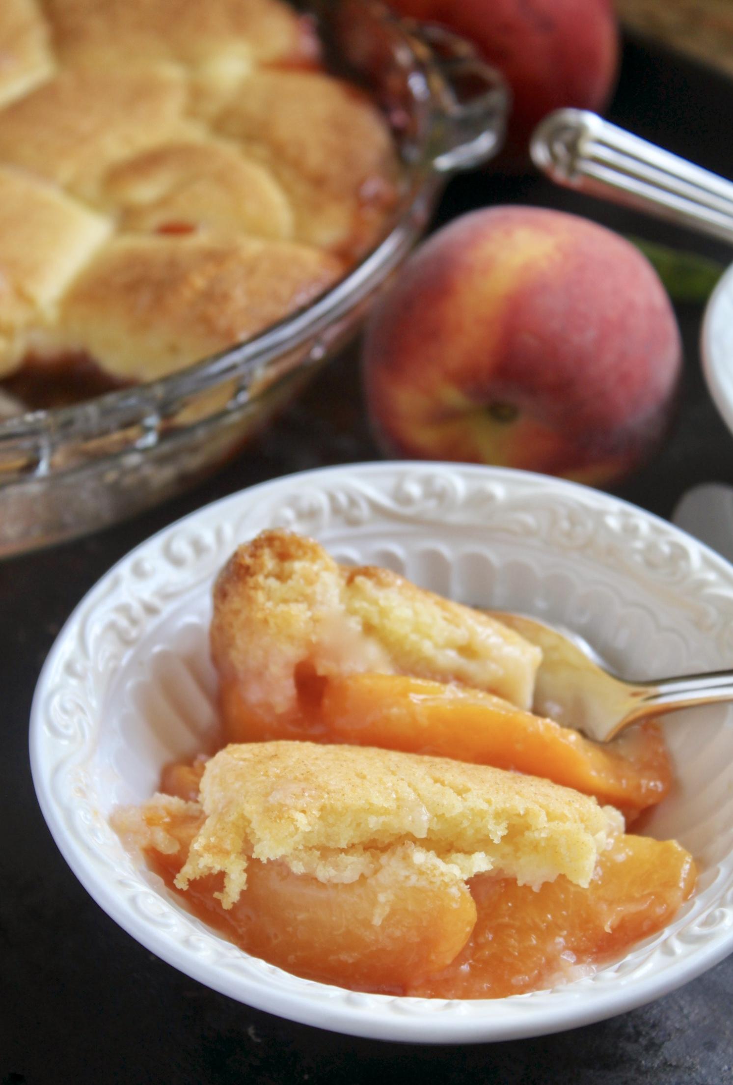 serving peach cobbler