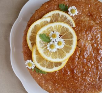 overhead gluten free lemon cake on a plate