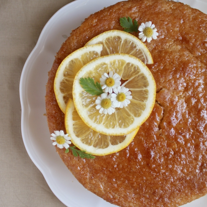overhead gluten free lemon cake on a plate