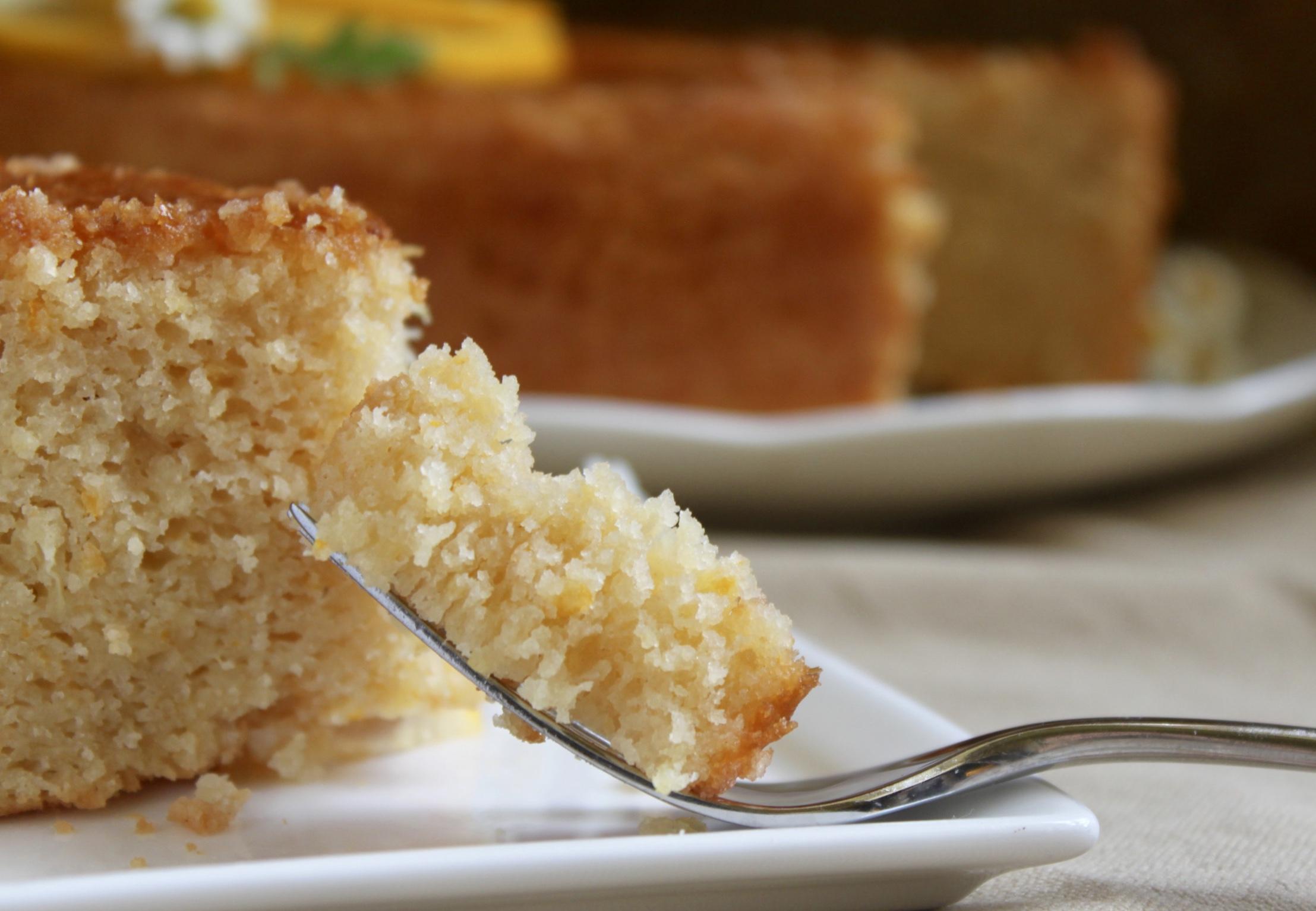 piece of gluten free lemon cake on a fork