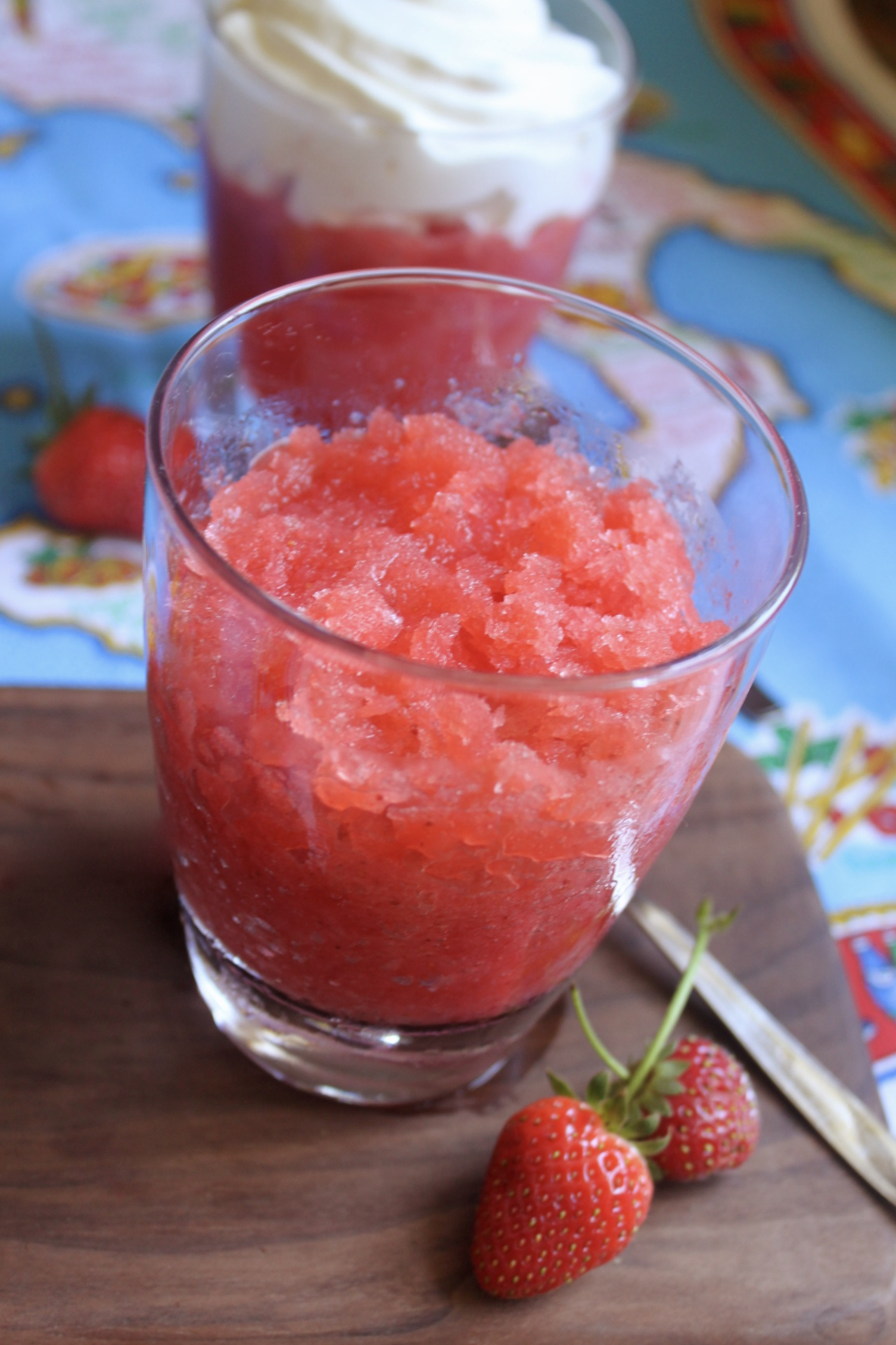 serving strawberry ice in a glass