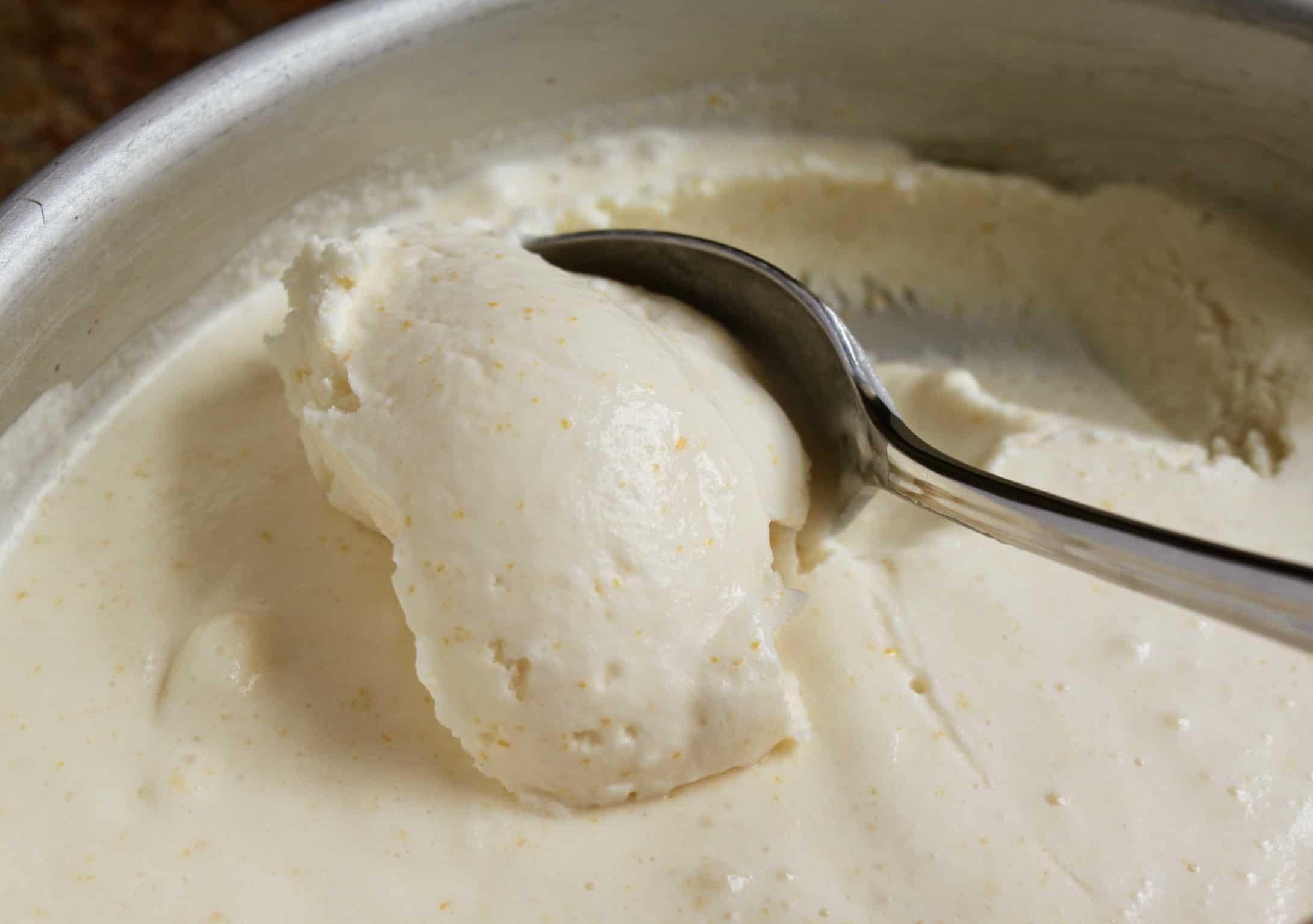 lemon ice cream in metal tin