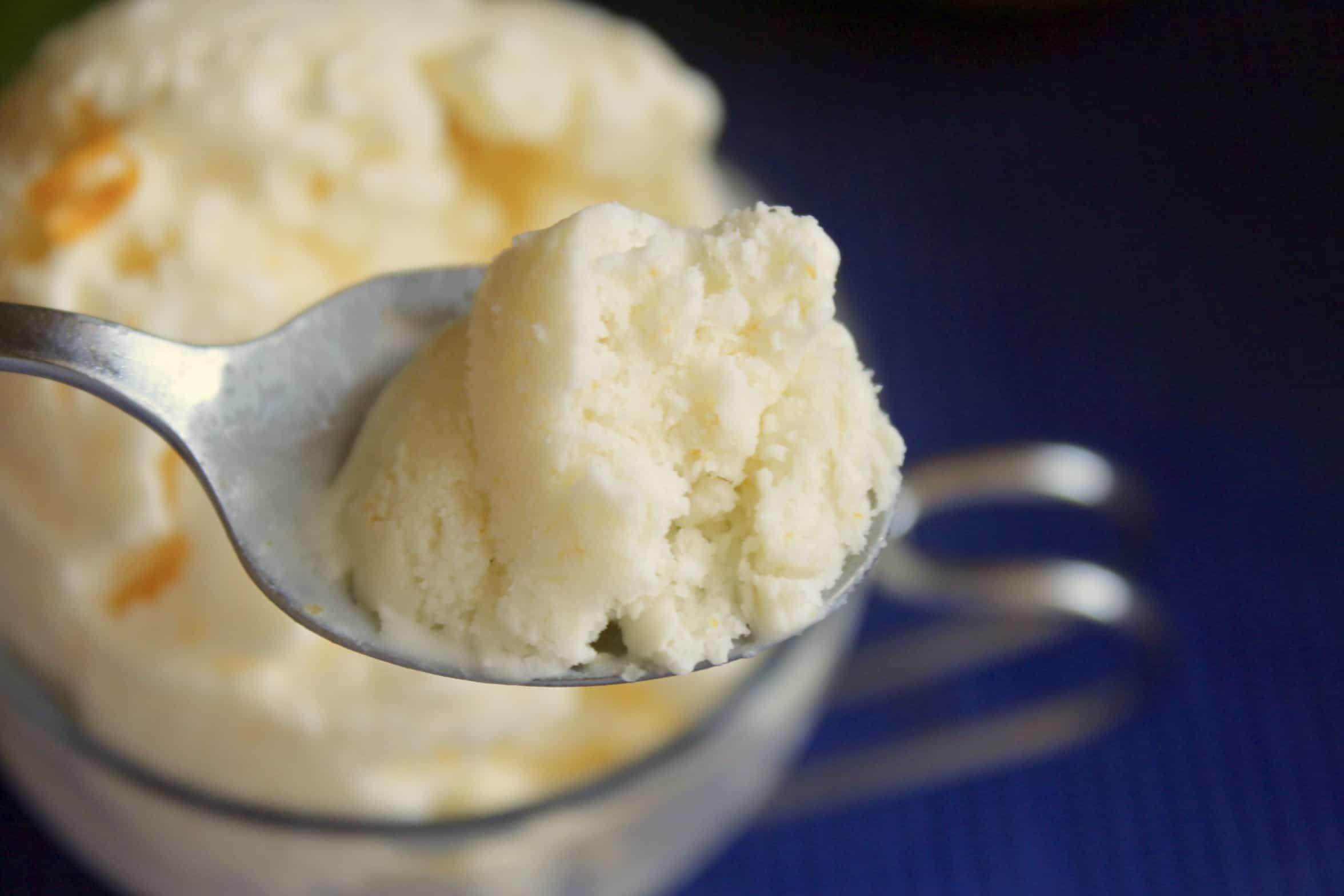spoonful of lemon ice cream