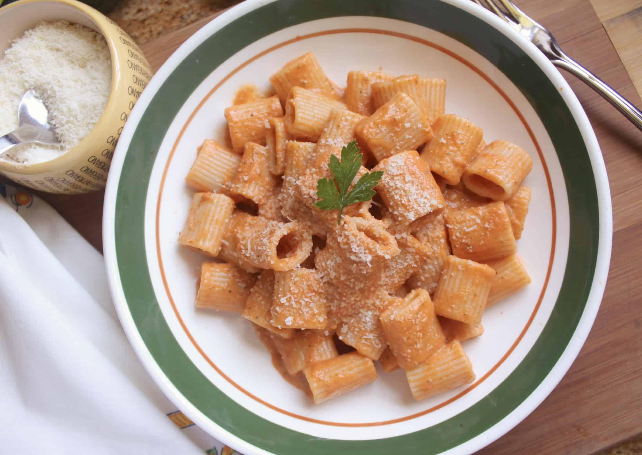 creamy zucchini and tomato sauce on mezzi rigatoni