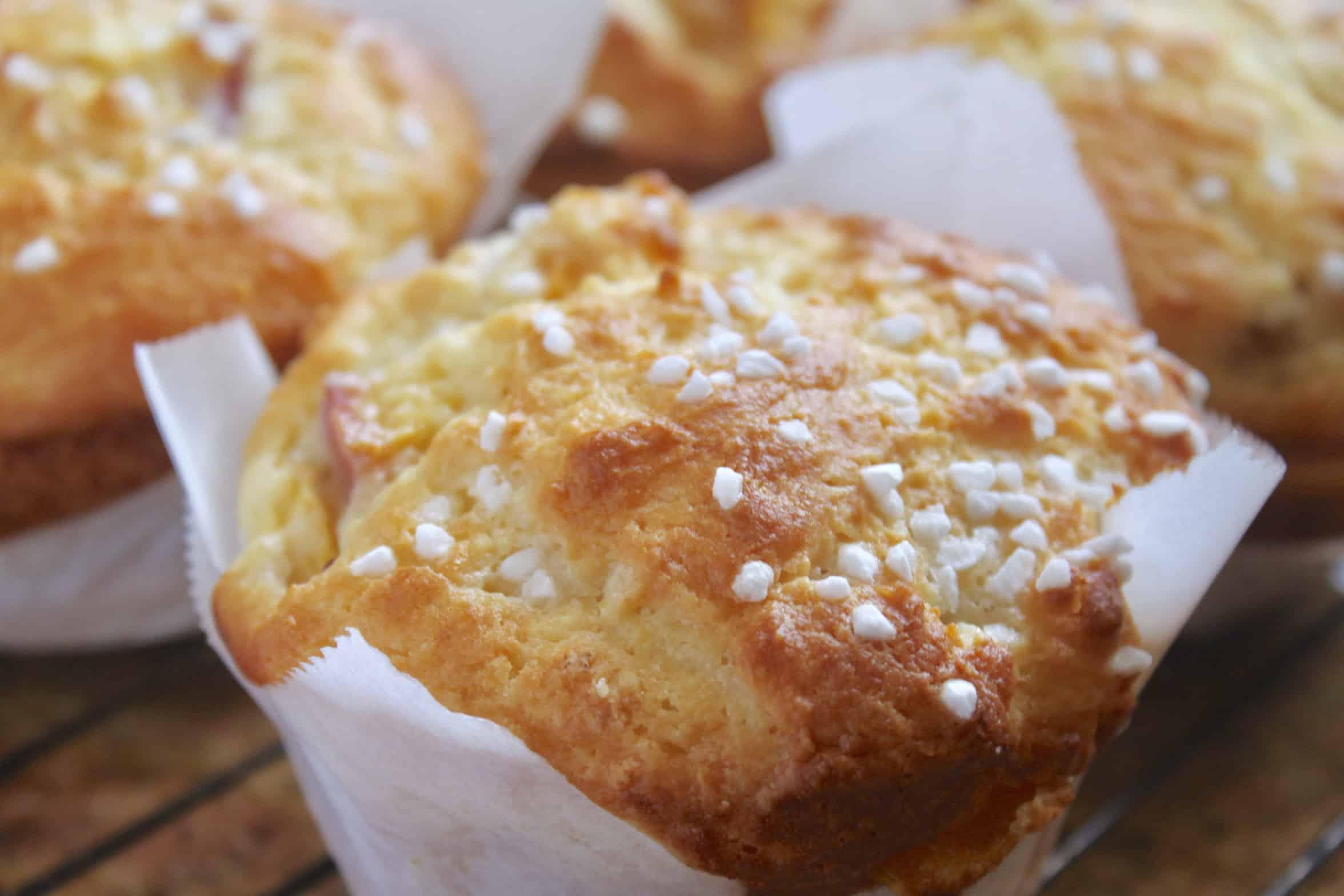 peach muffins in parchment paper
