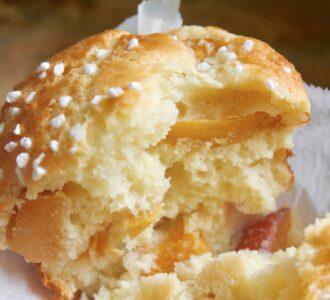 inside of a peach muffin