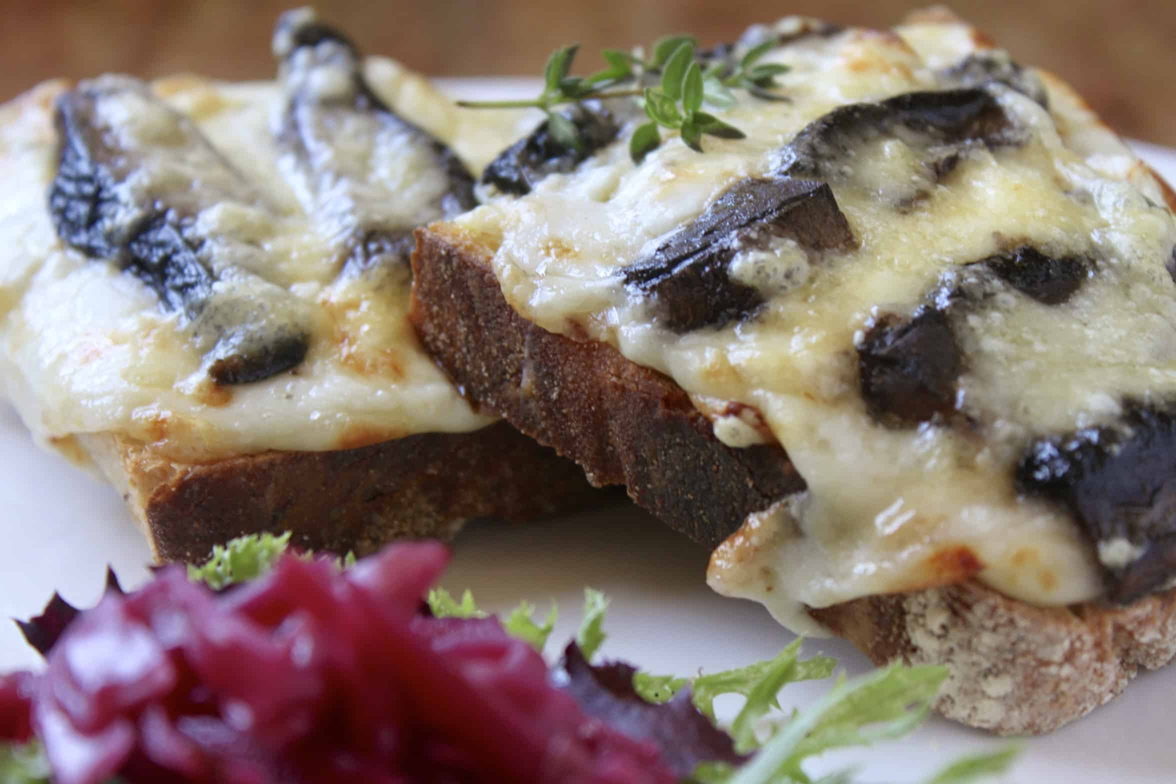 croque monsieur with cheese and mushrooms