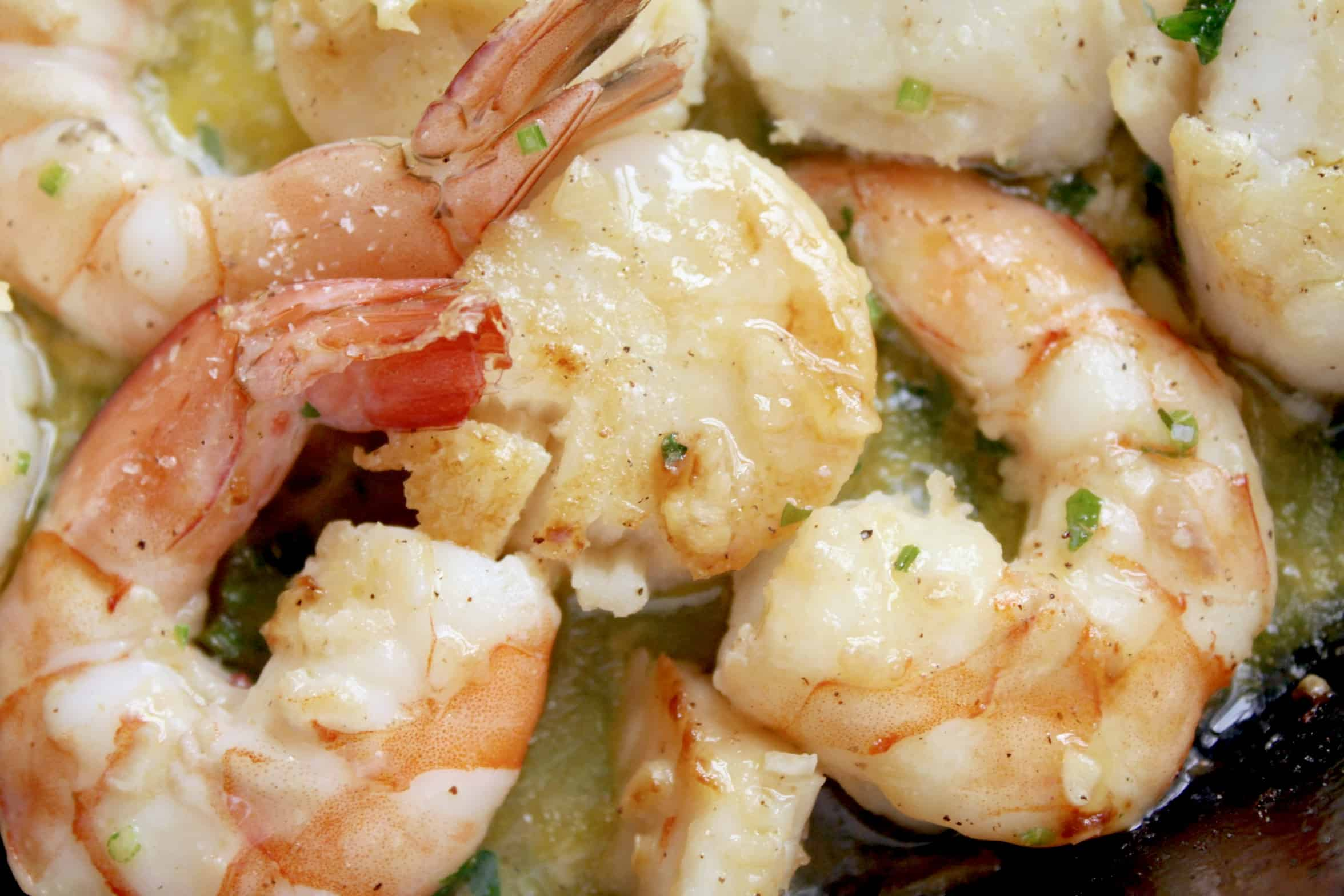 shrimp and scallops in a buttery sauce