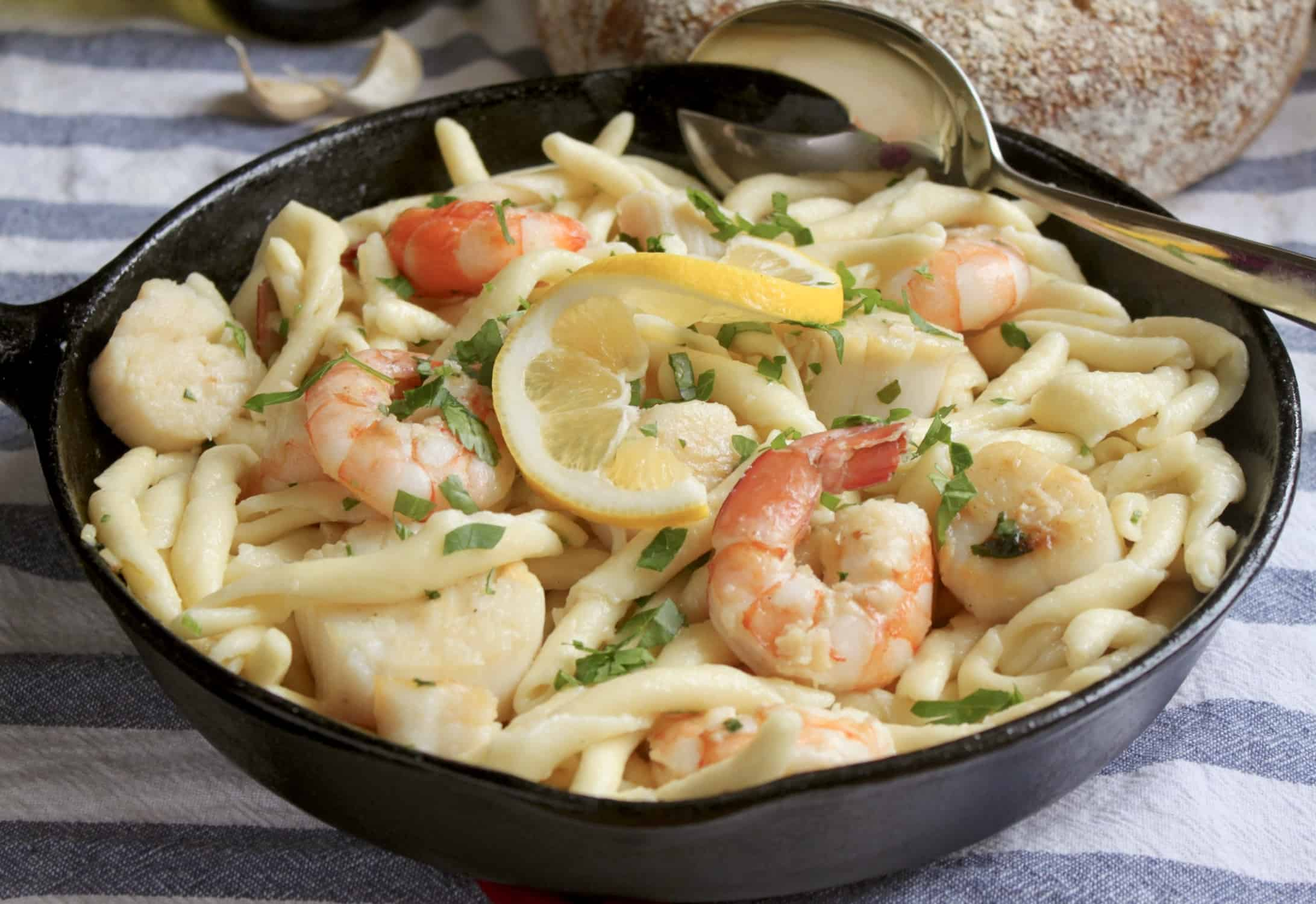 seafood pasta in a cast iron pan