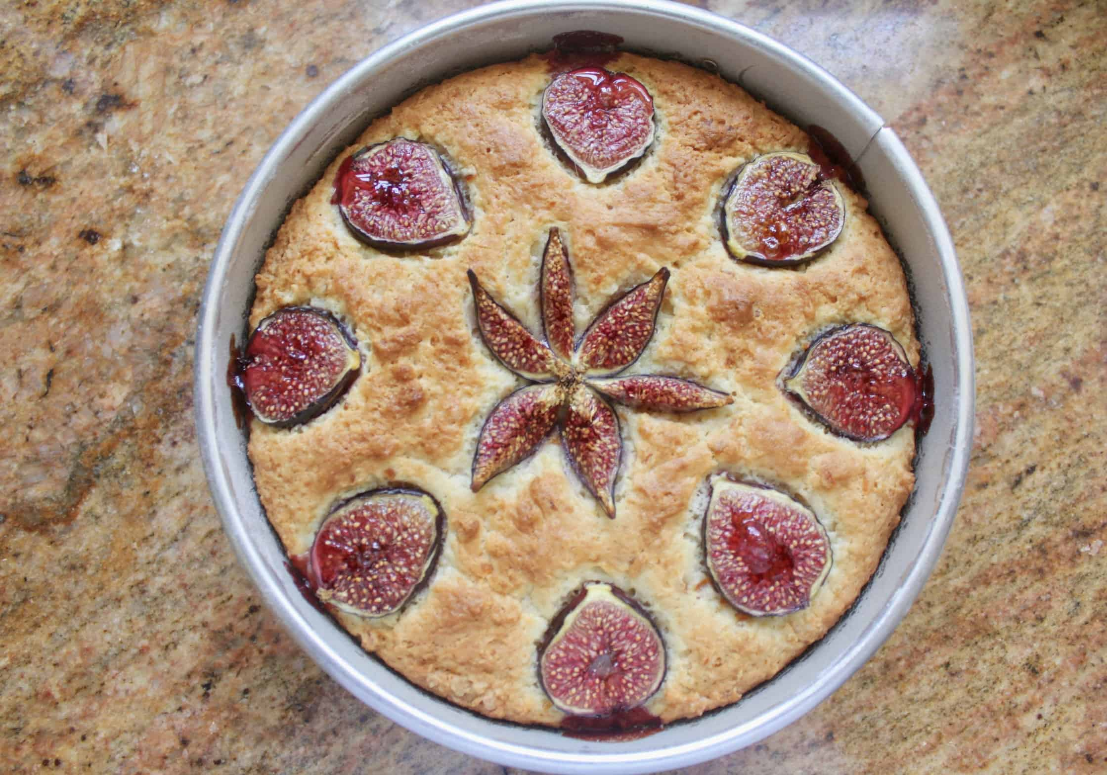 fig cake in a pan