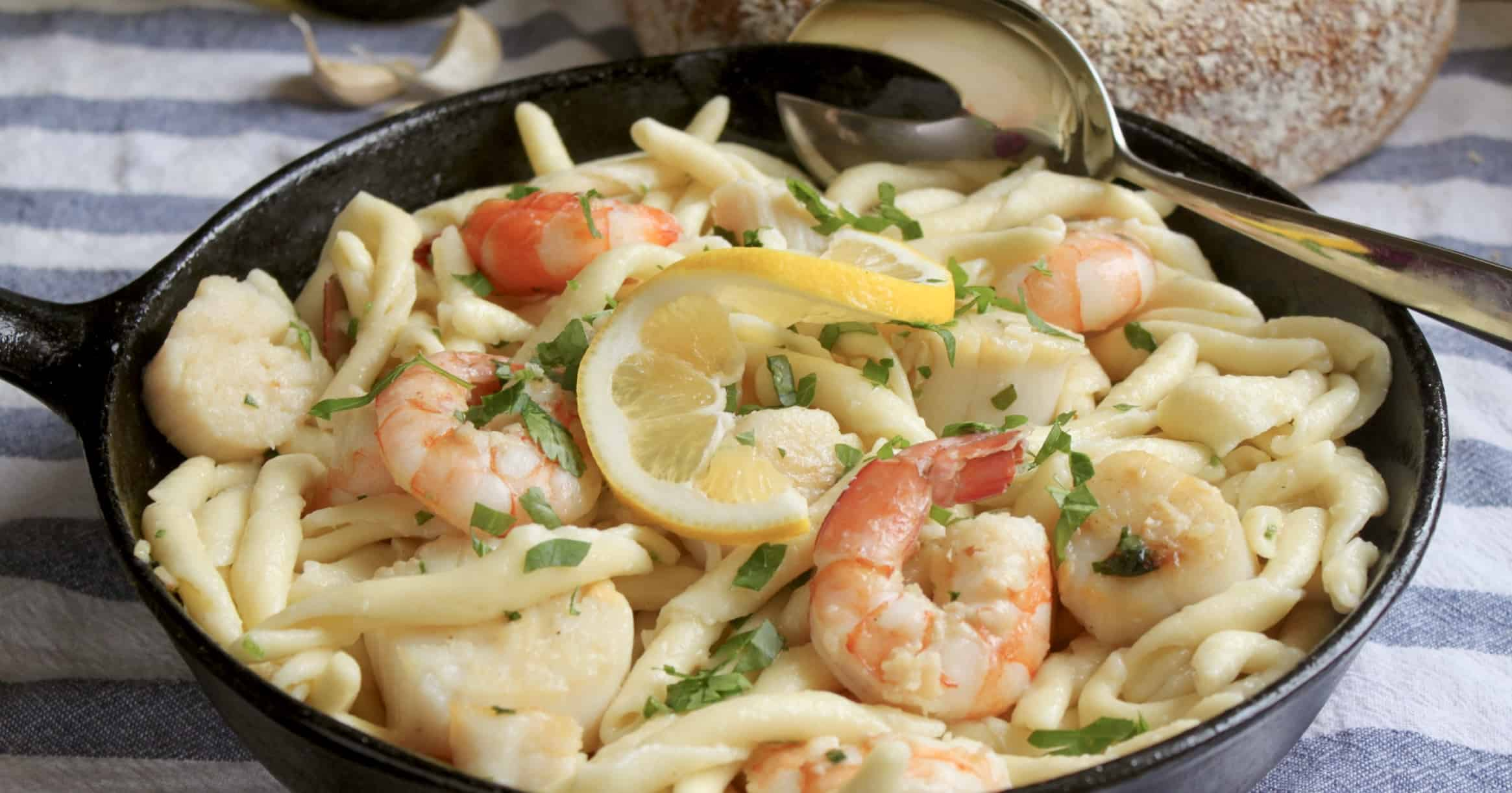 seafood pasta close up
