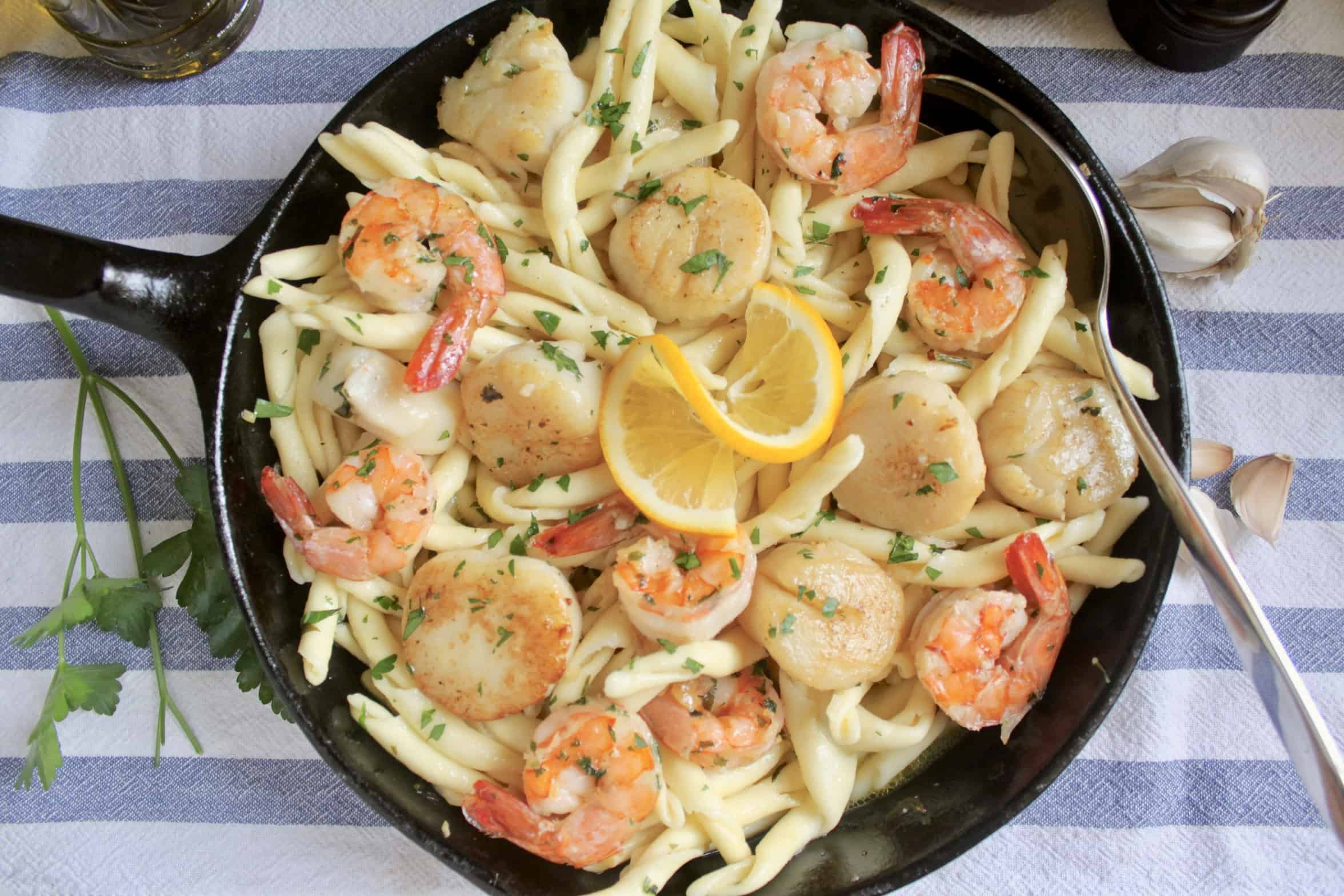 overhead seafood pasta in pan