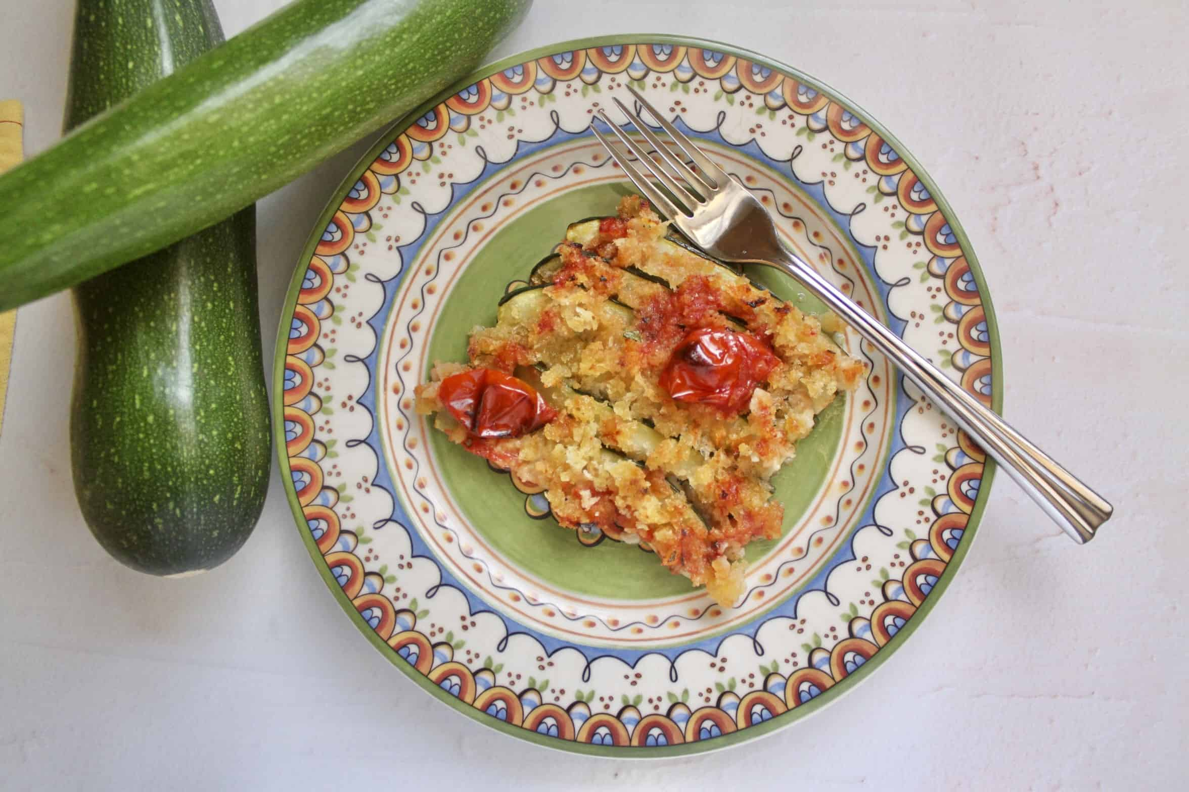 colorful plate with baked zucchini