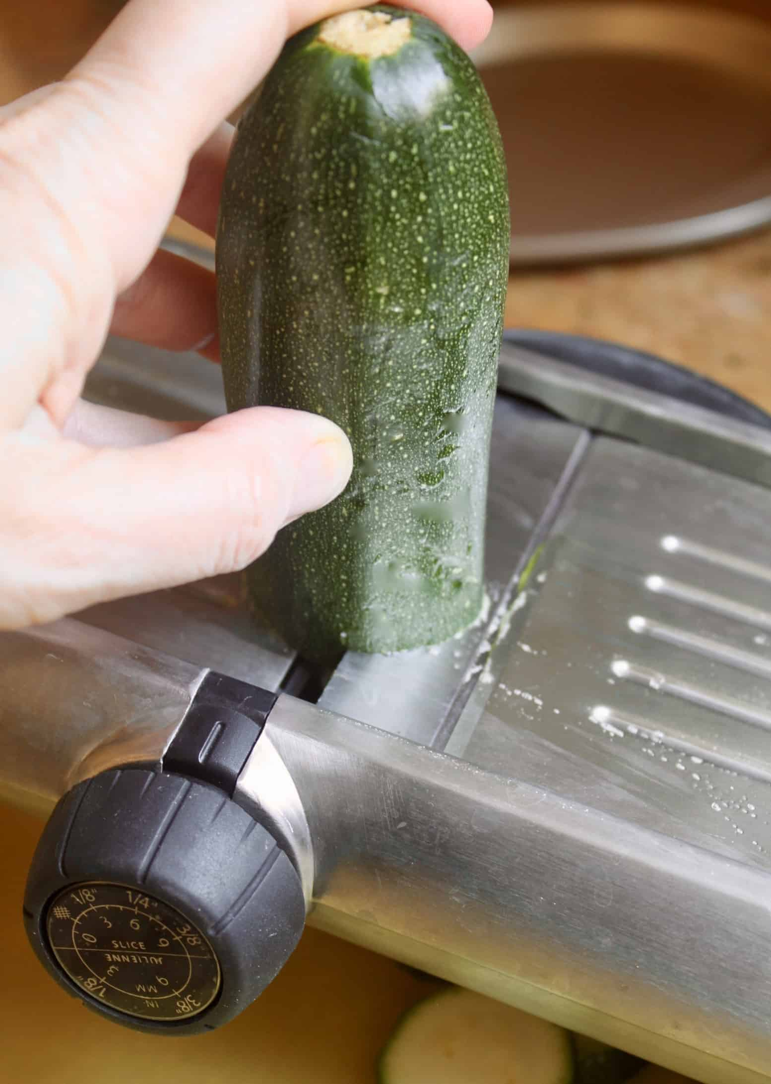slicing zucchini with mandoline