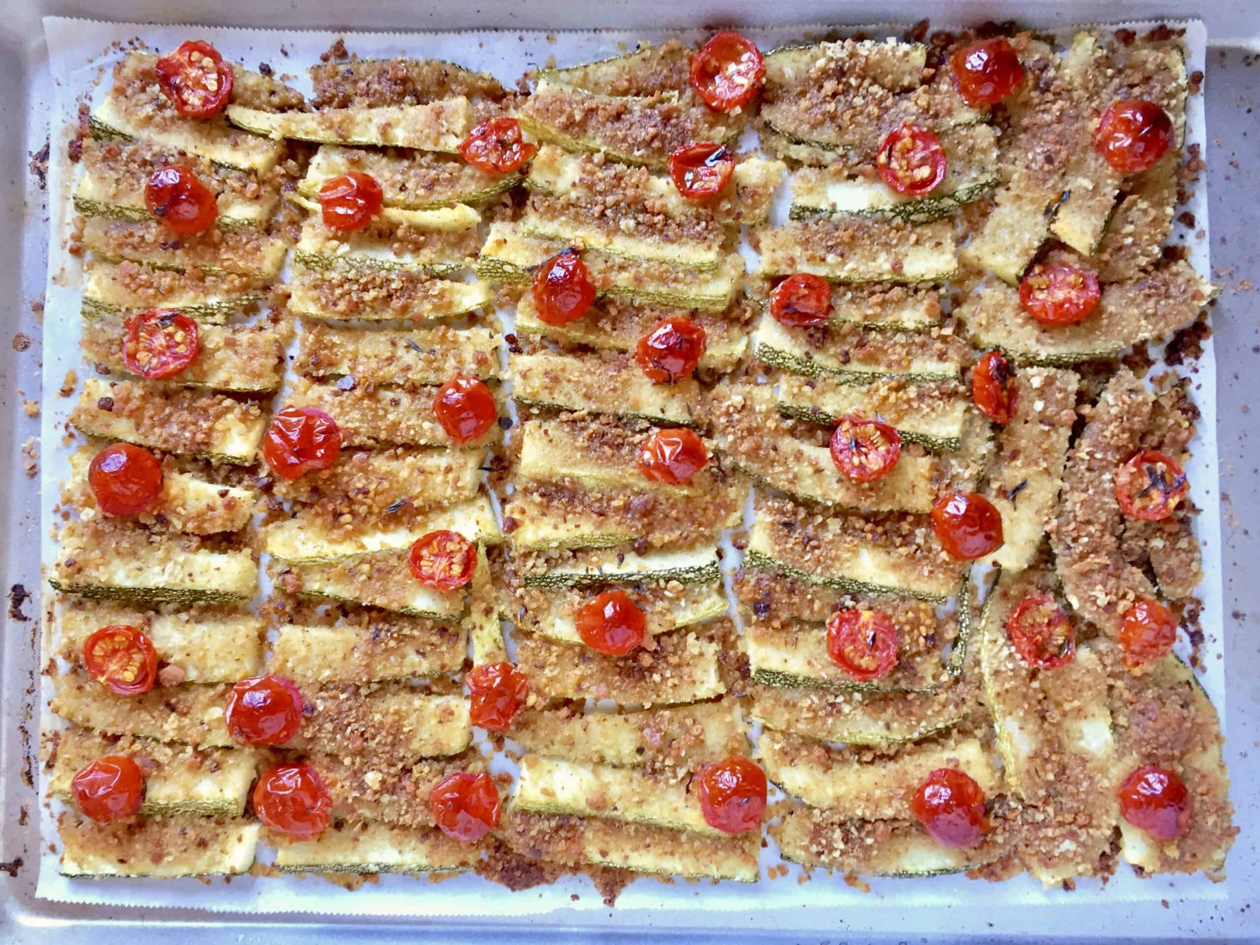 baked zucchini side dish on a tray