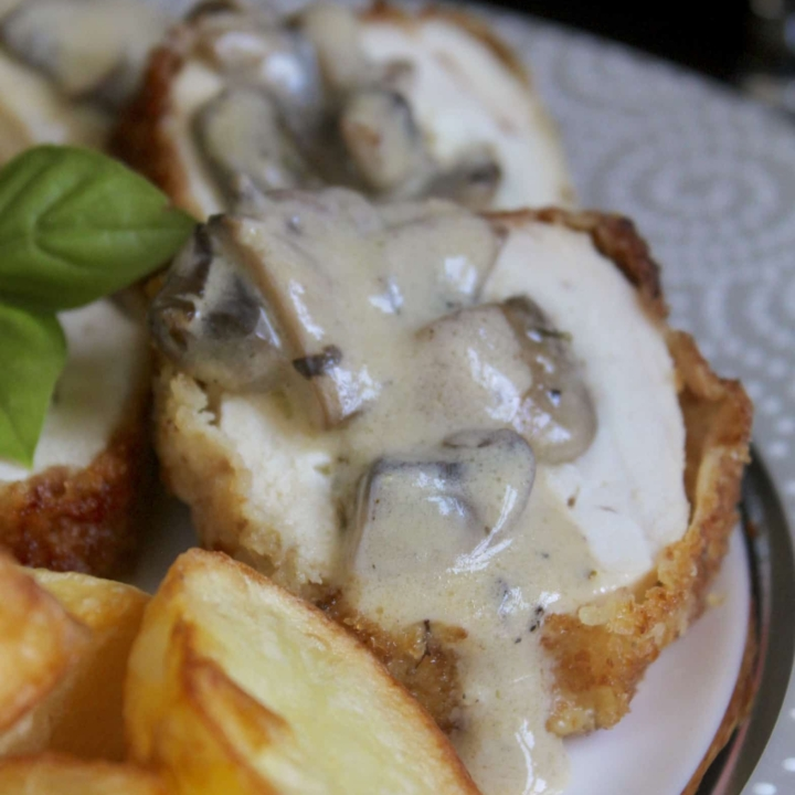 Stuffed Chicken Breast with Goat Cheese, Basil, and a Mushroom Sauce (Featuring Meredith Dairy)
