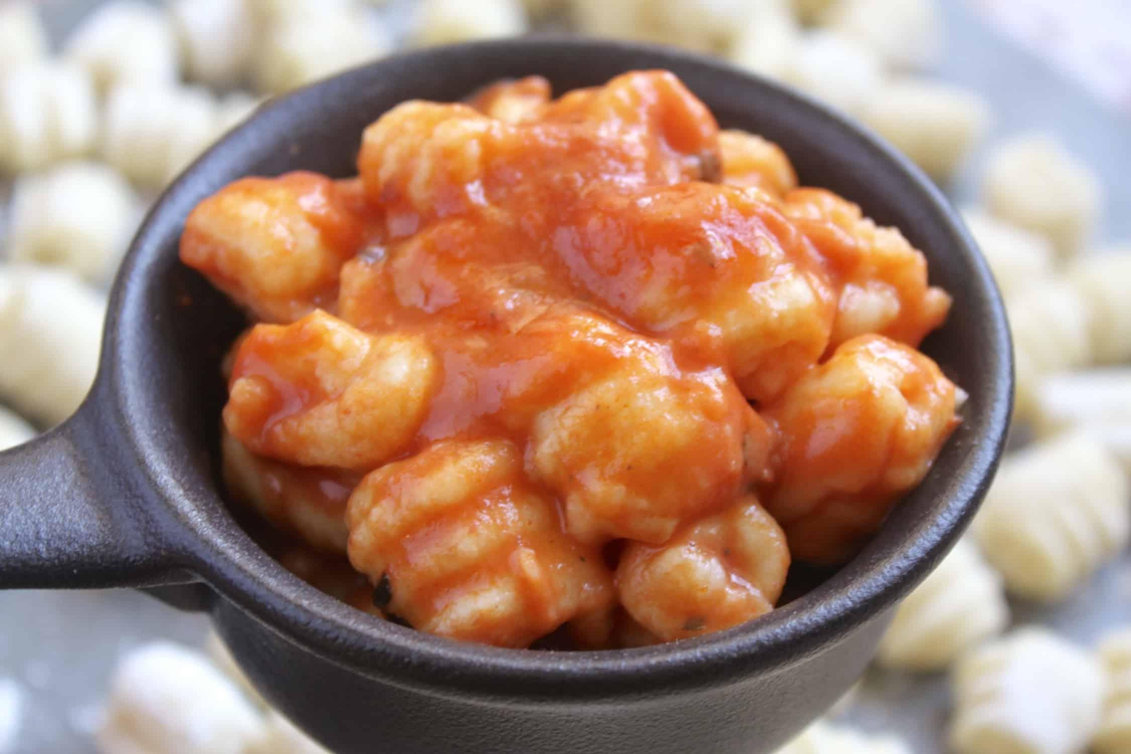 potato gnocchi in a ramekin