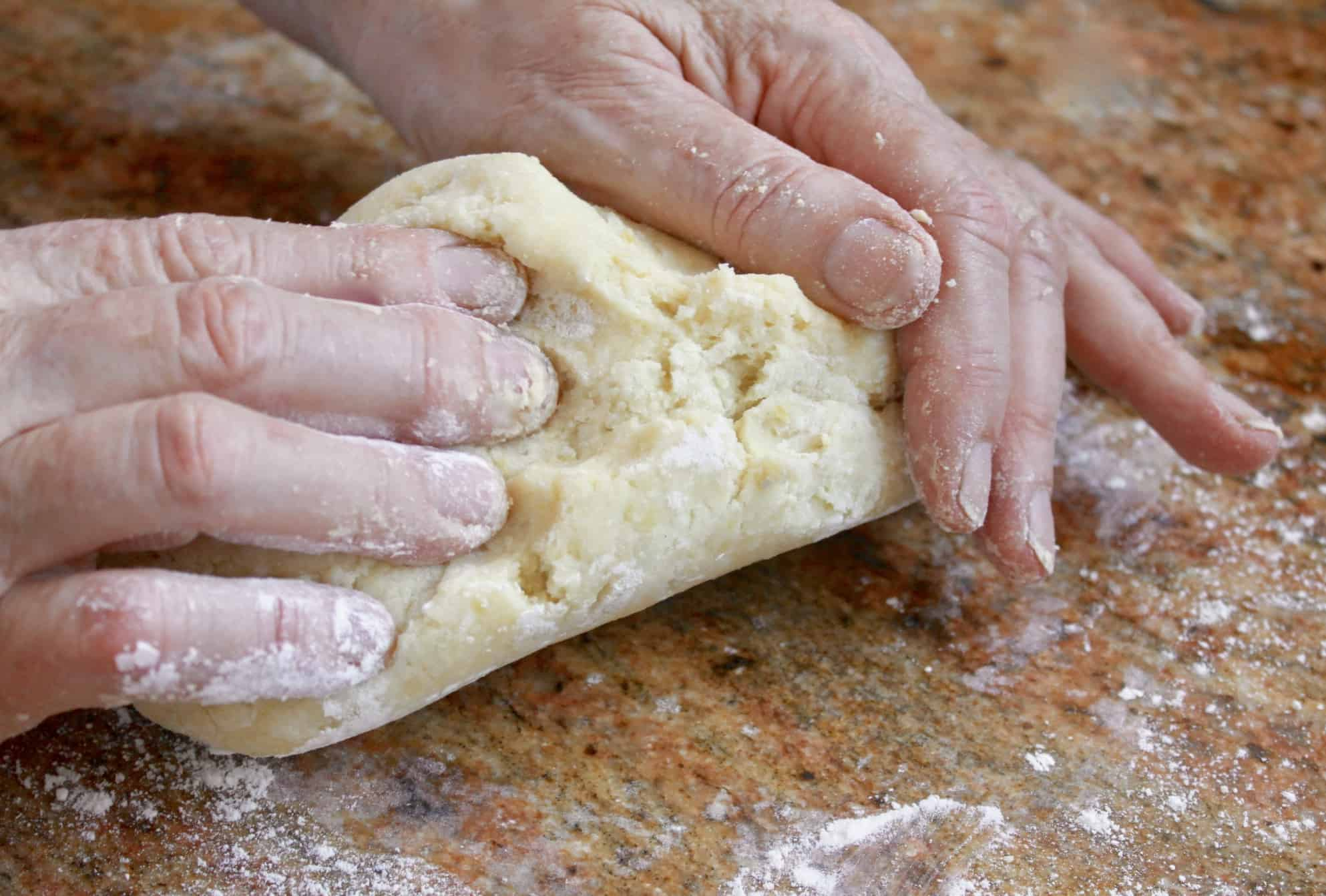 kneading the potato gnocchi dough