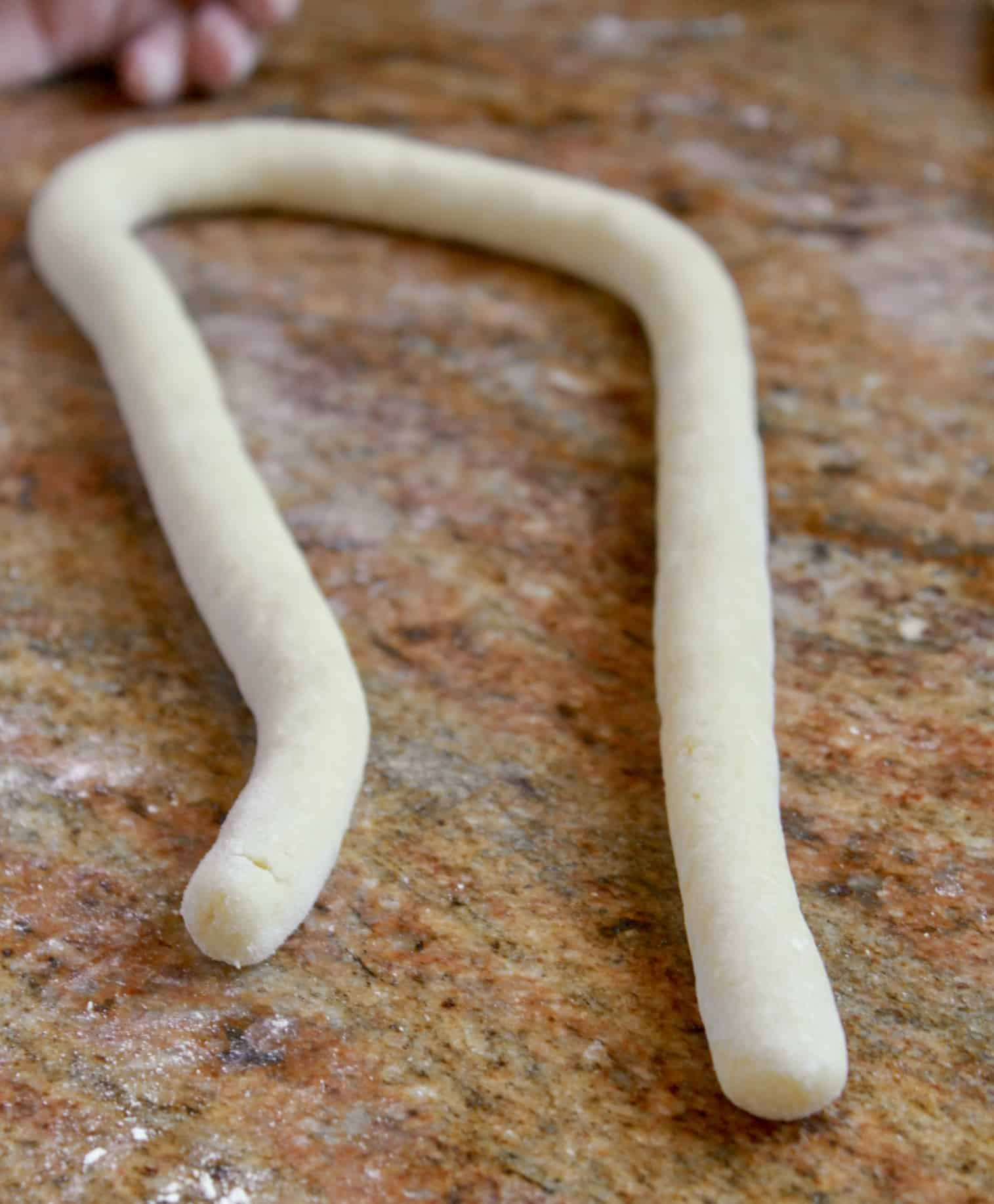 rope of potato gnocchi dough