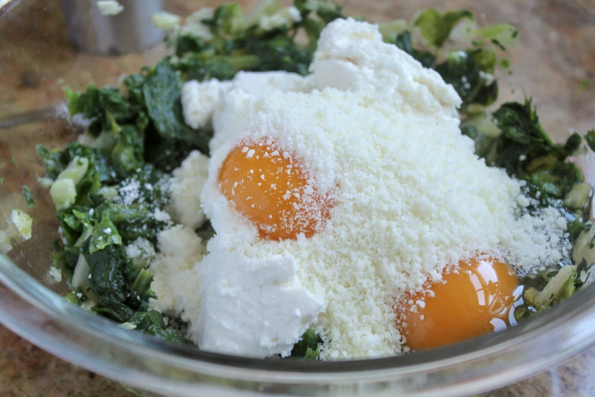 making filling with greens and cheese