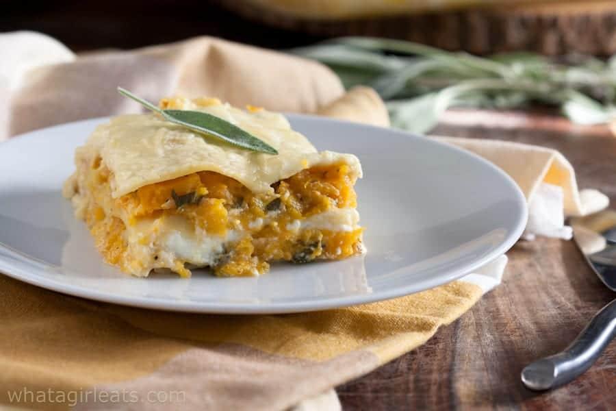 butternut sage lasagna on a plate