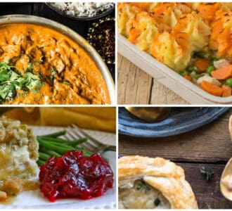 Photo collage of 4 of the 12 Thanksgiving leftover recipes