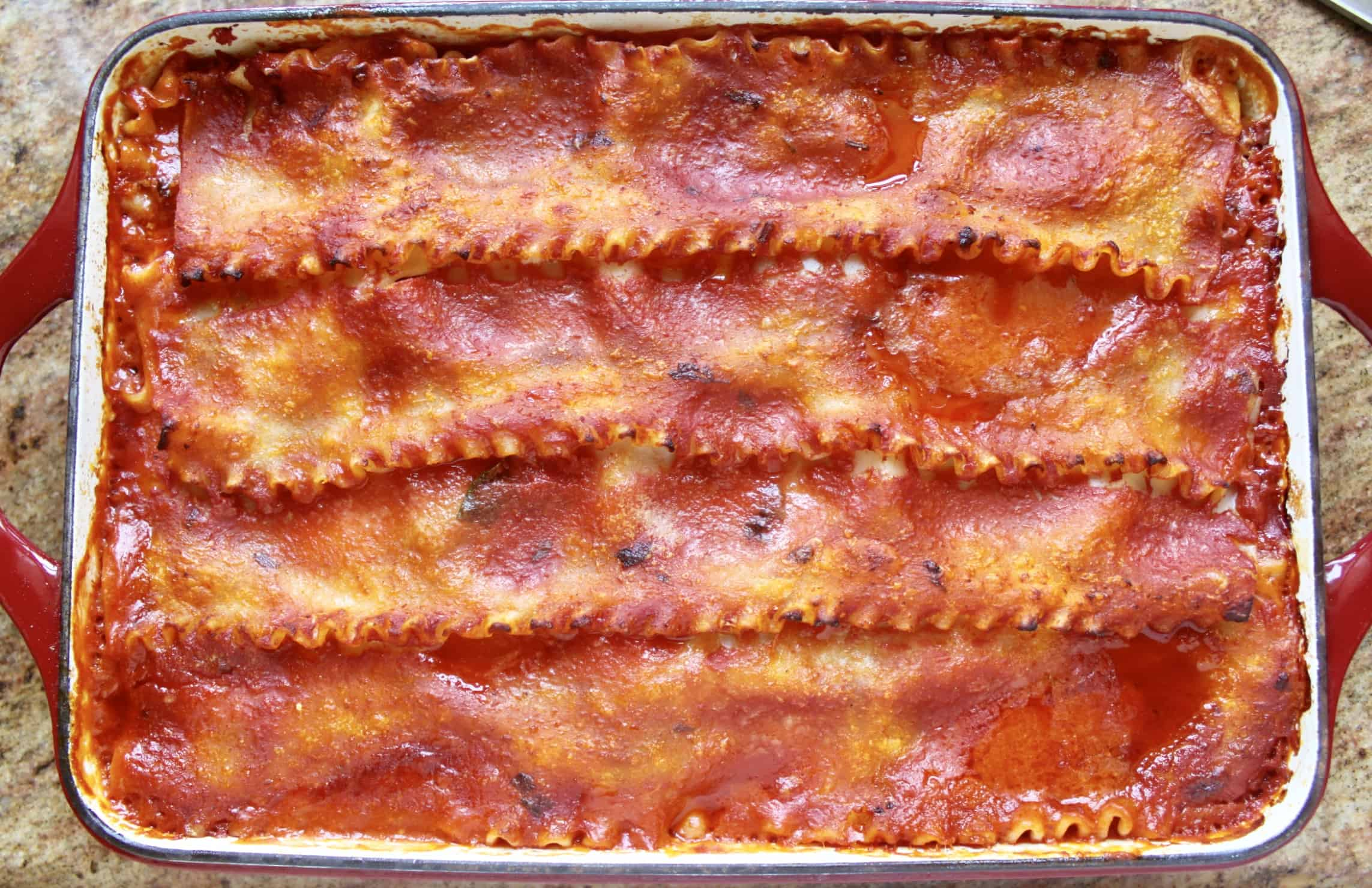 baked lasagna out of the oven