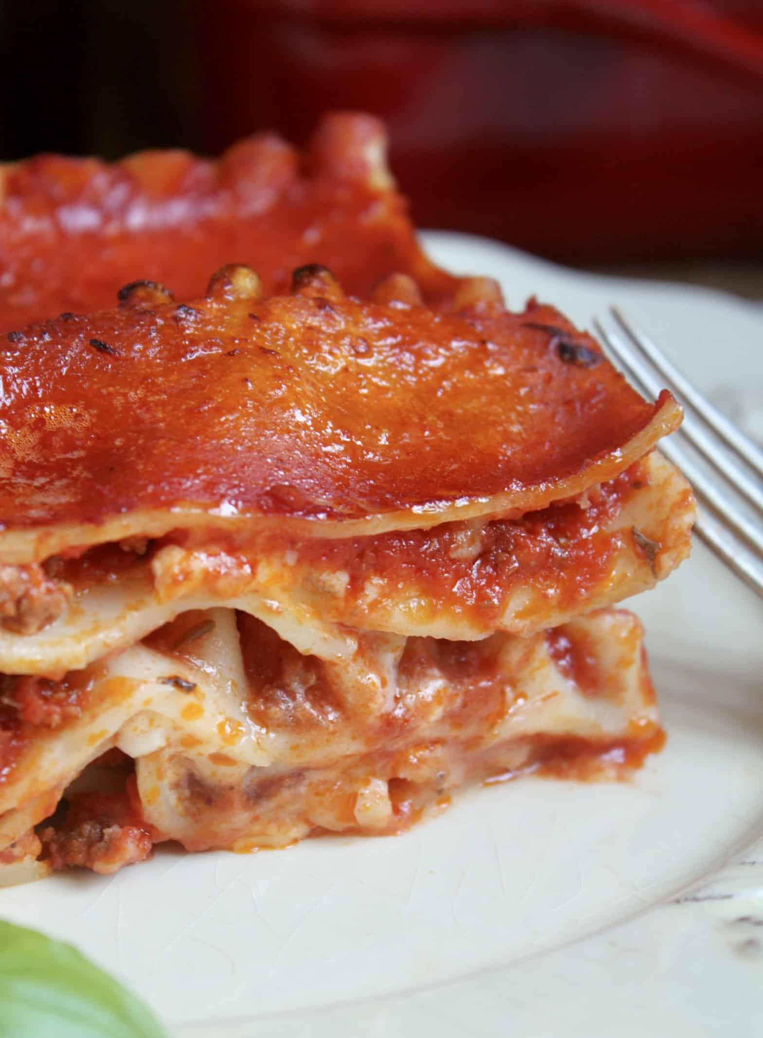 close up of lasagna