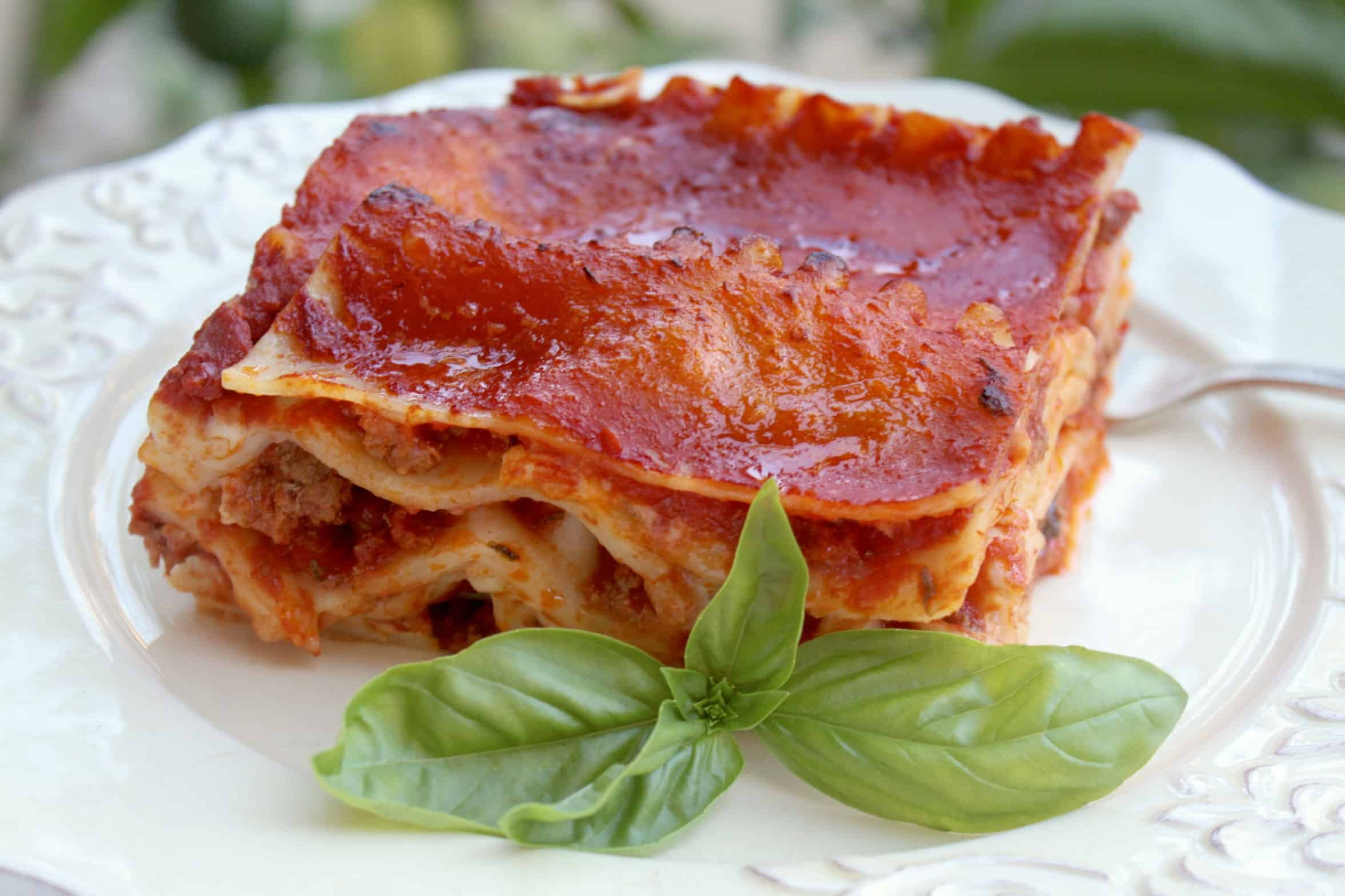 lasagna with basil