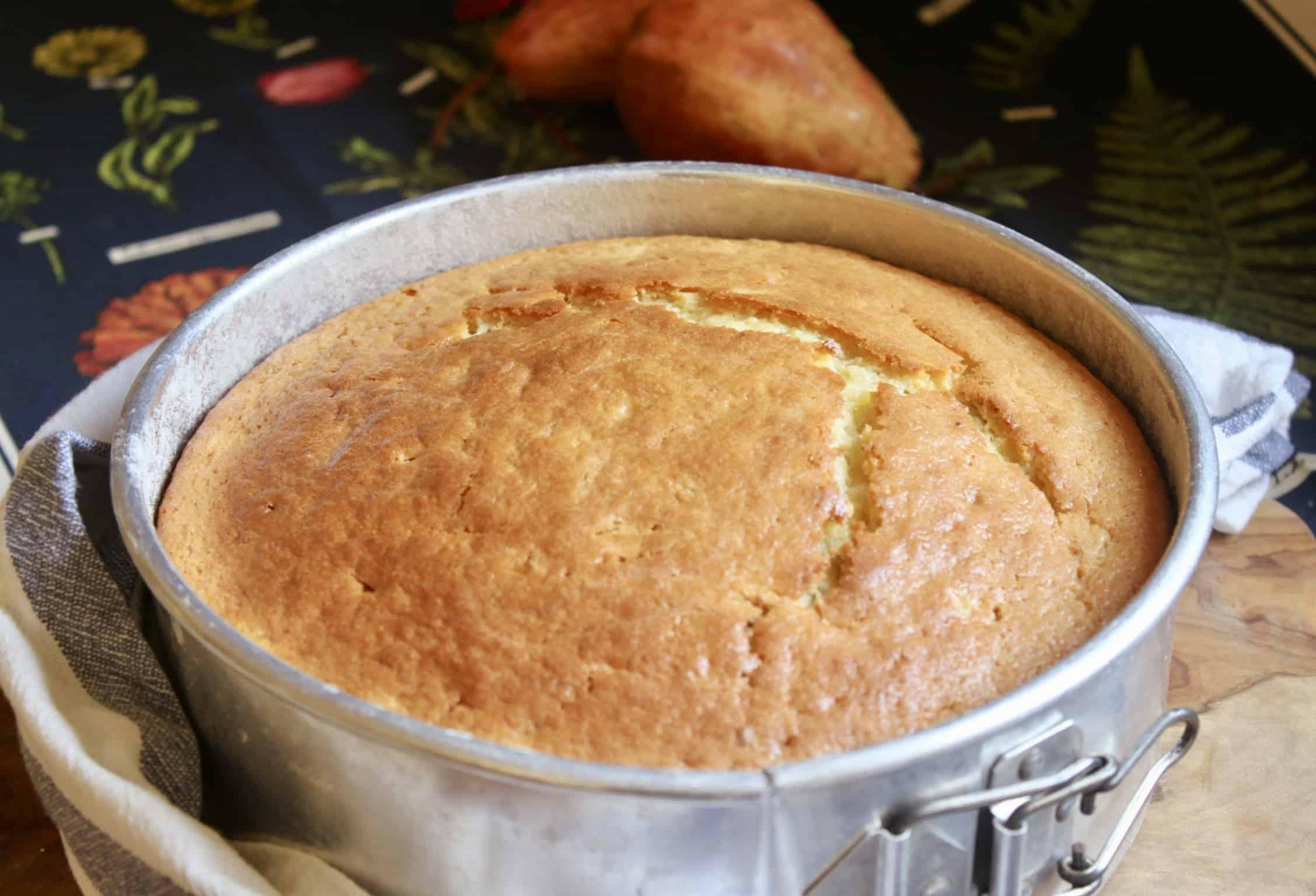 pear cake in pan