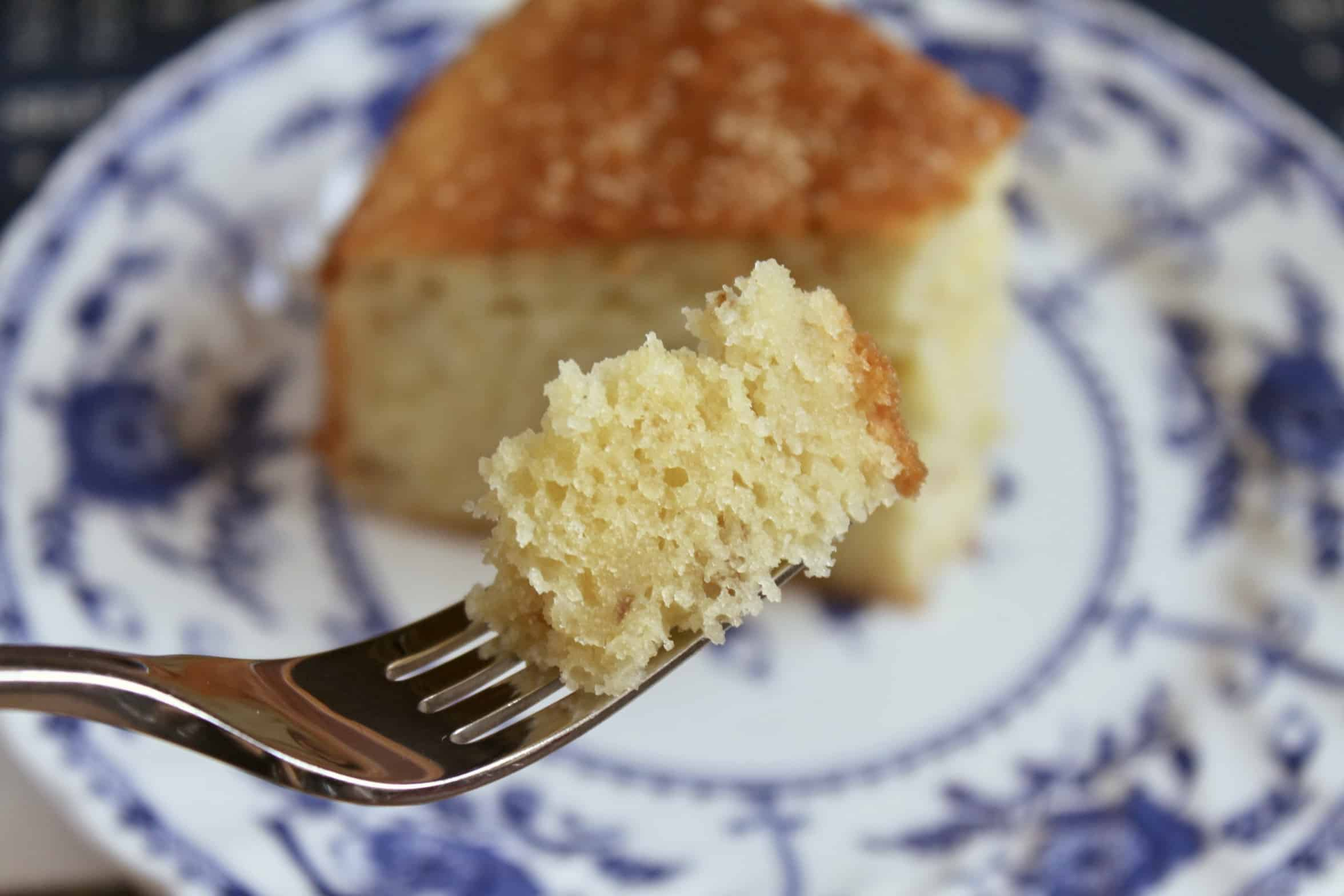 piece of pear cake on a fork