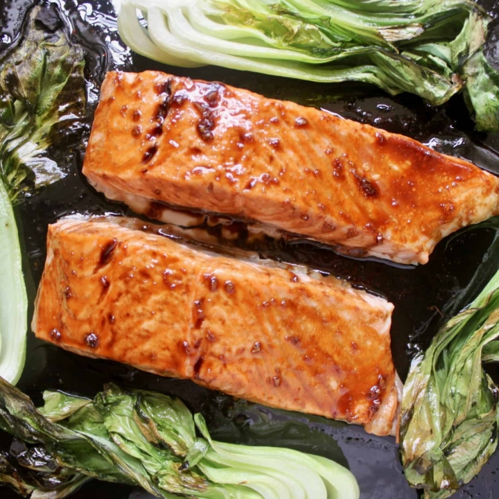 maple glazed salmon with bok choy