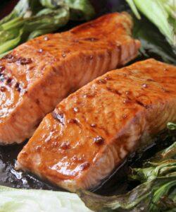 maple glazed salmon with bok choy