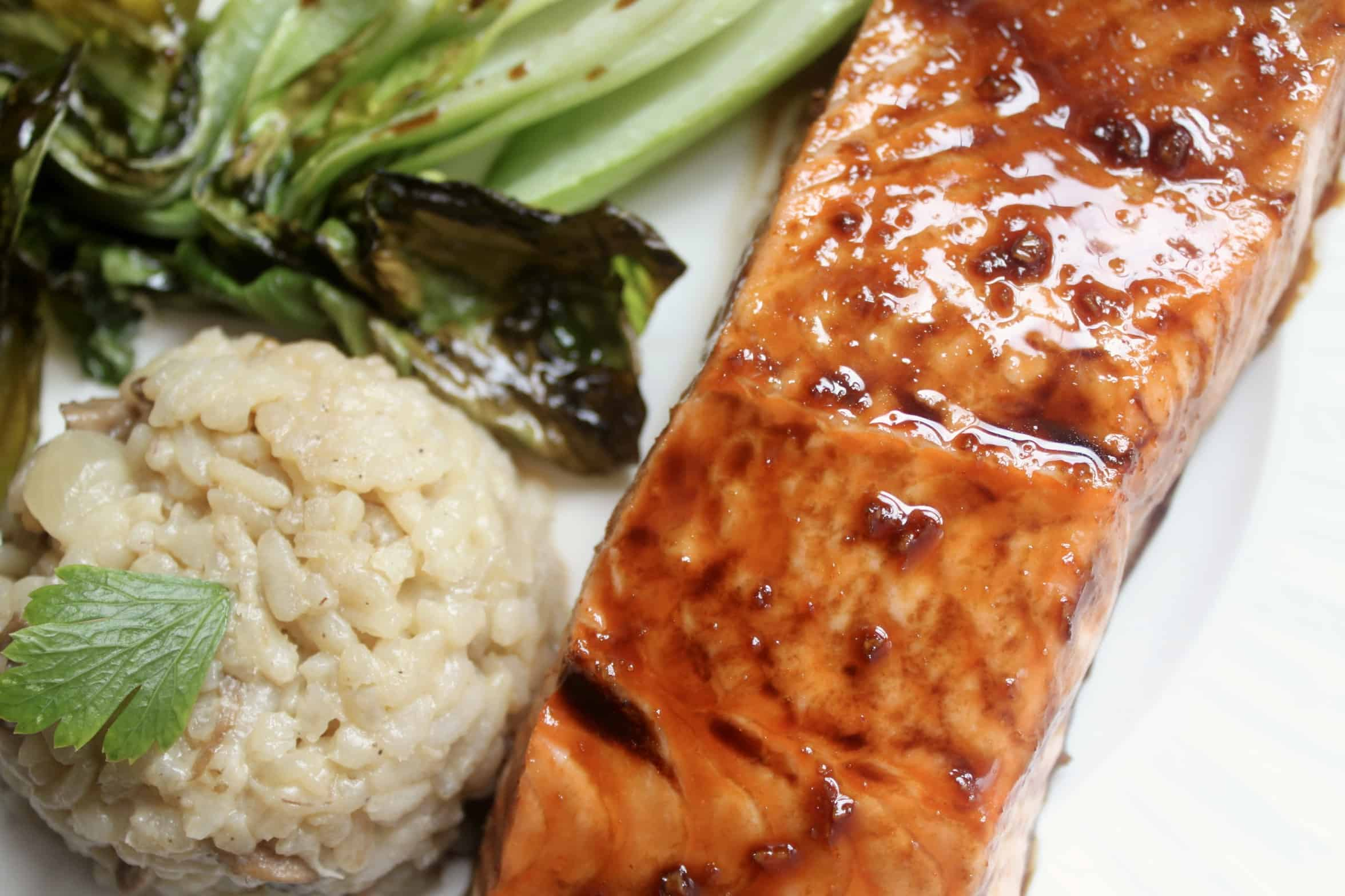 maple glazed salmon with bok choy and rice
