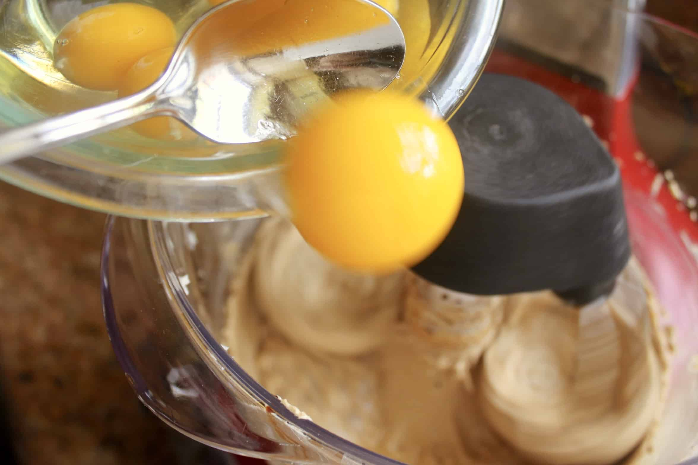 Adding eggs to Dundee Cake batter