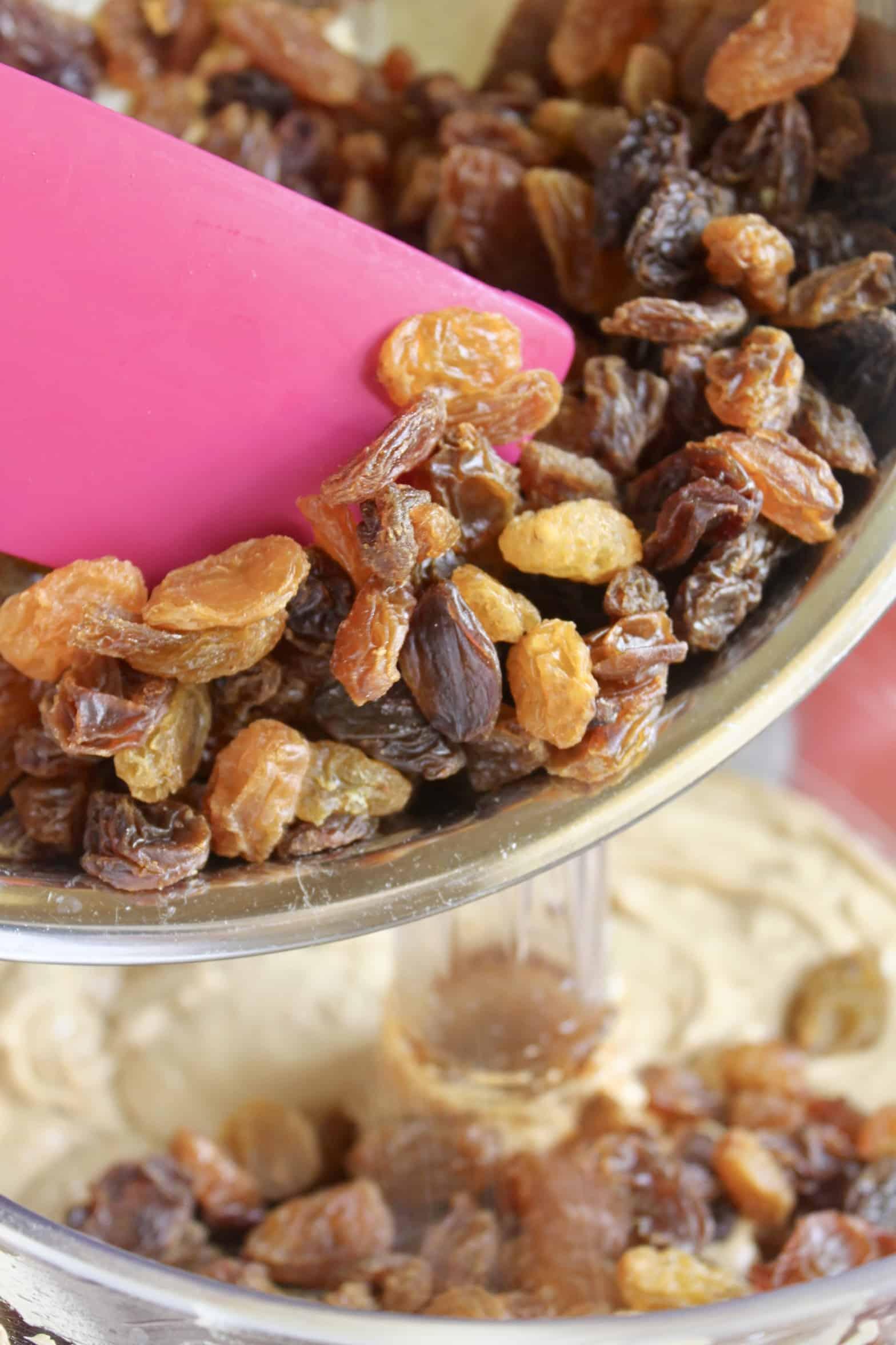adding golden raisins to batter