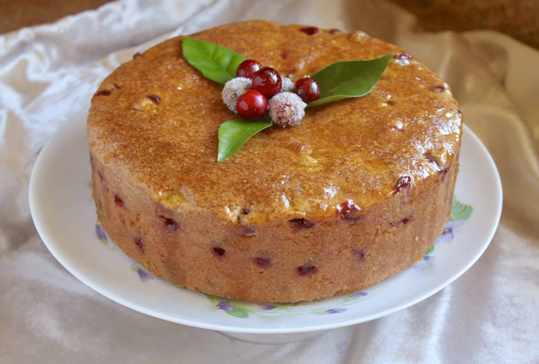 cranberry cake on a stand