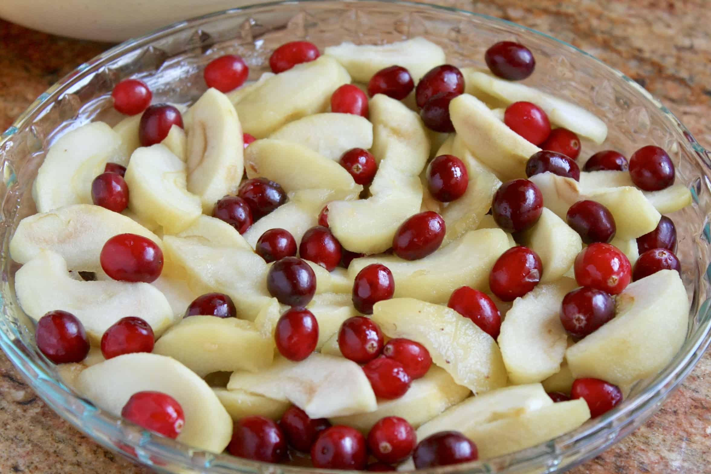 fruit in pie dish