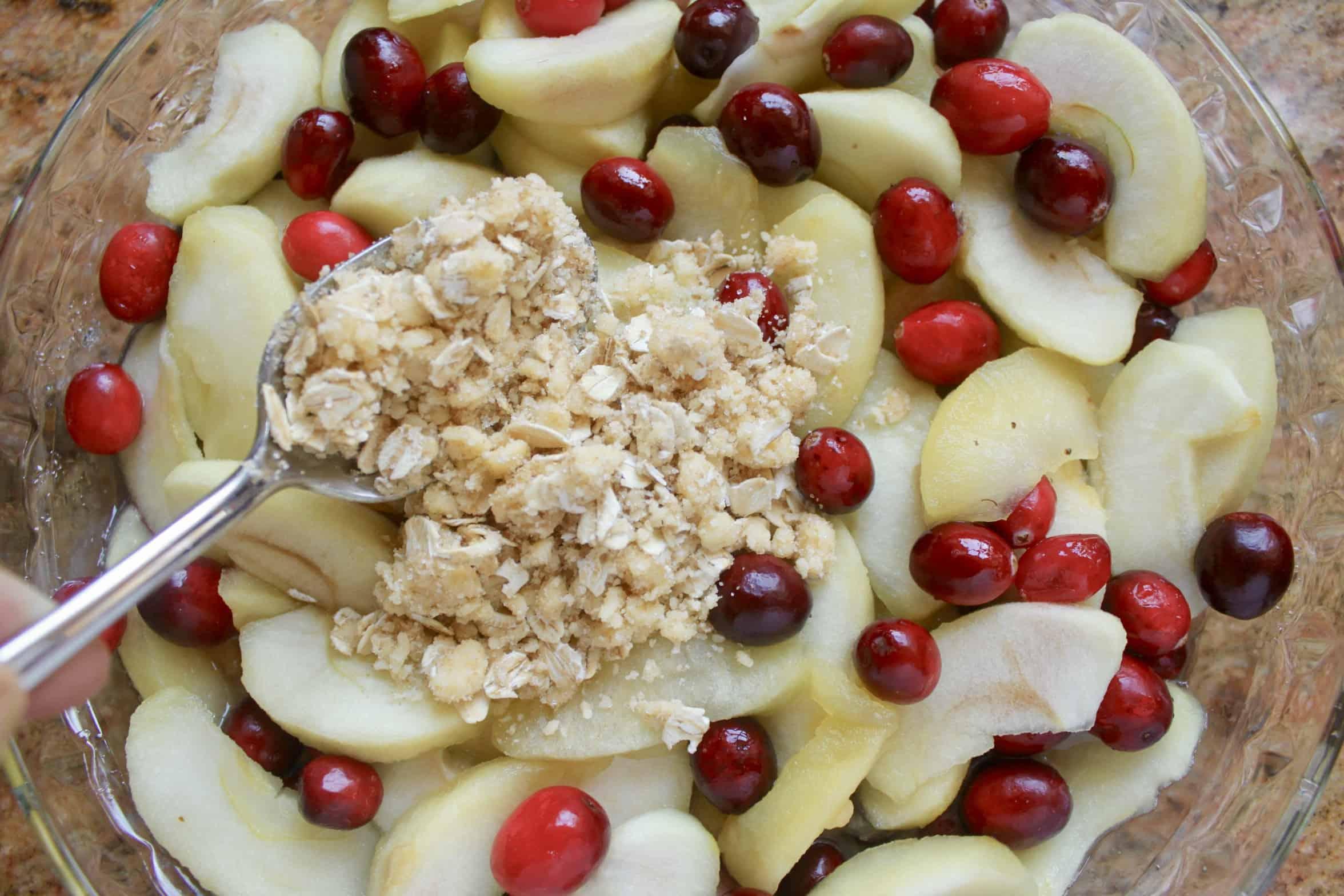 adding crisp topping to fruit