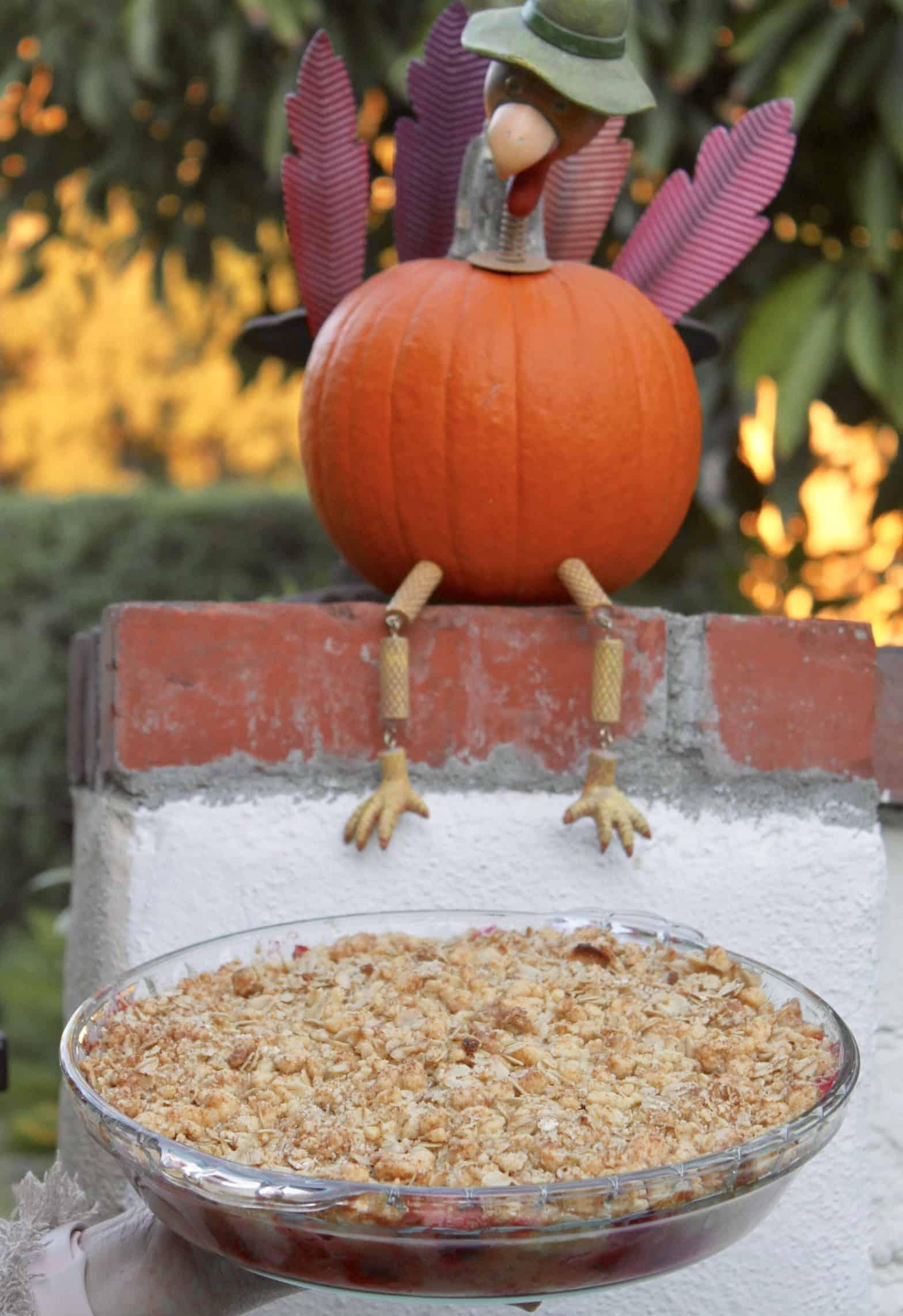 pumpkin turkey on a wall overlooking apple cranberry crisp