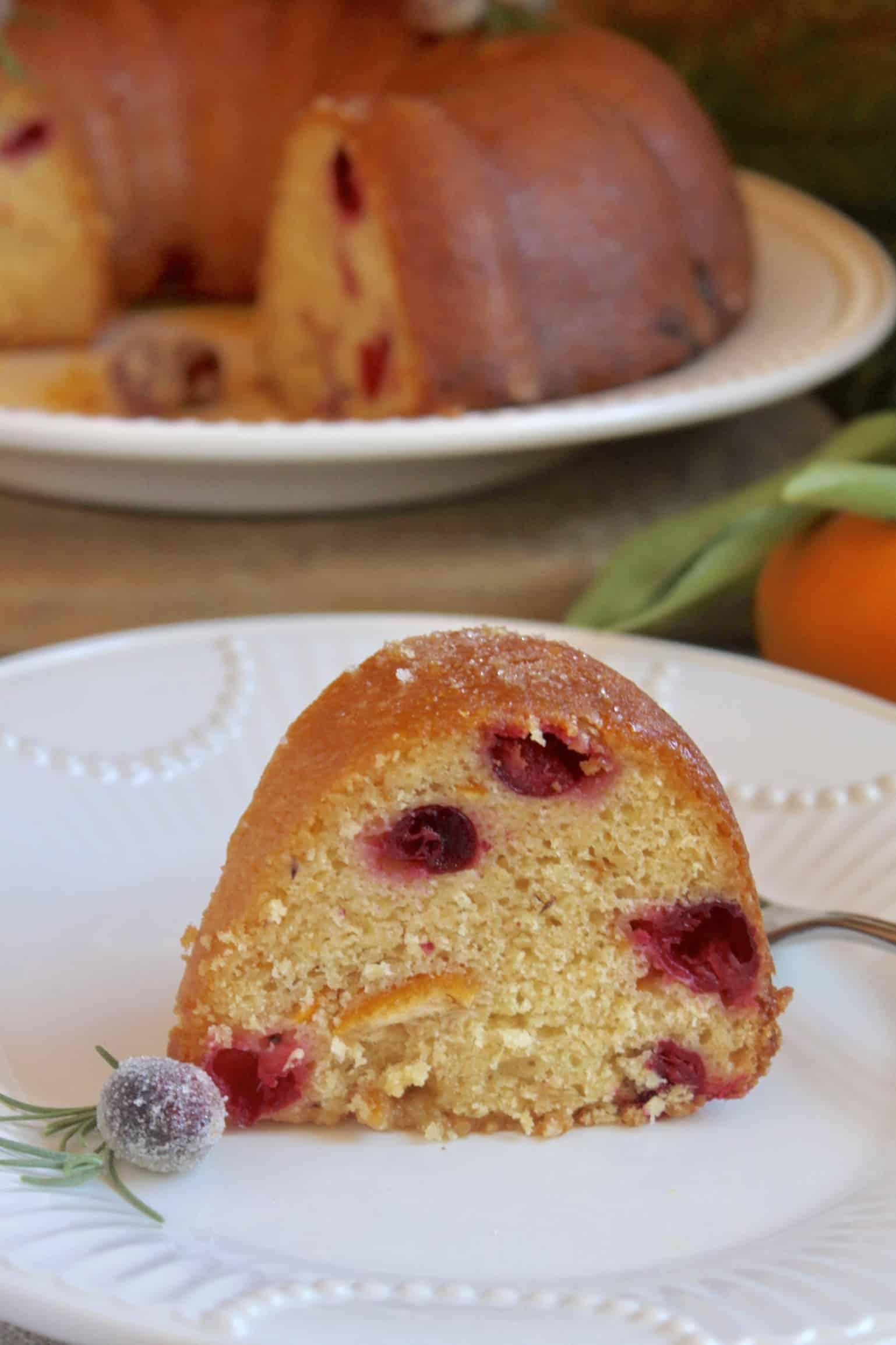 slice of orange cranberry cake