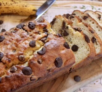 chocolate chip banana bread on board