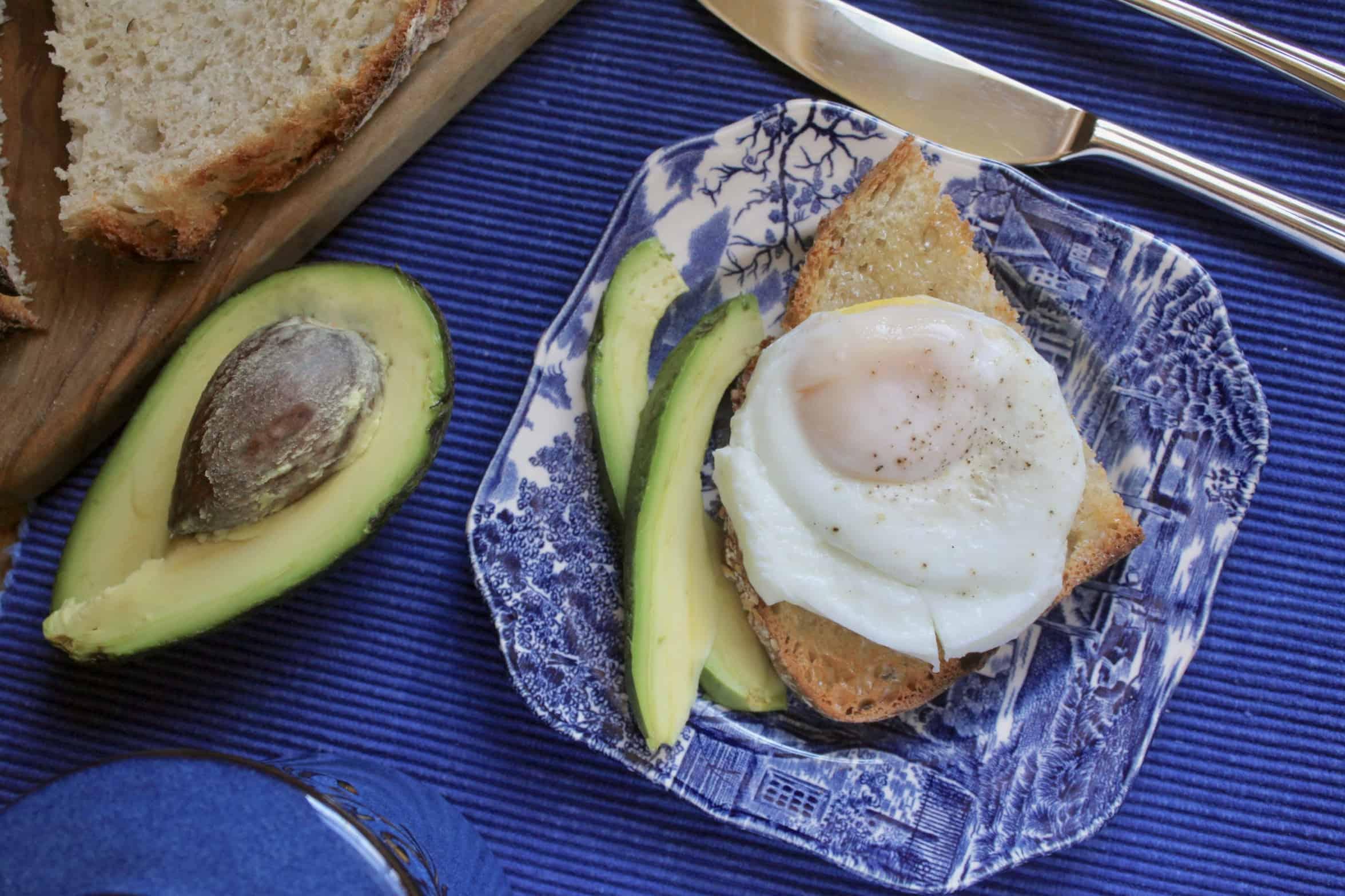 coddled egg on toast with avocado