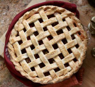 rhubarb pie overhead